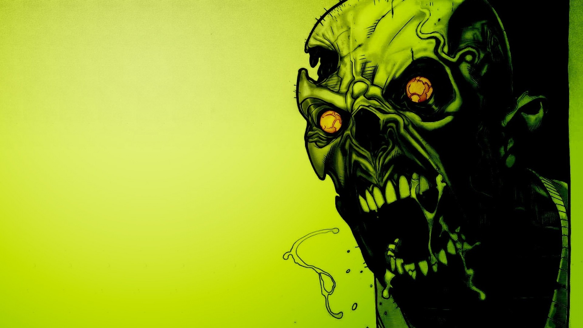 1920x1080 Preview wallpaper zombies, scary, green, eyes, blood