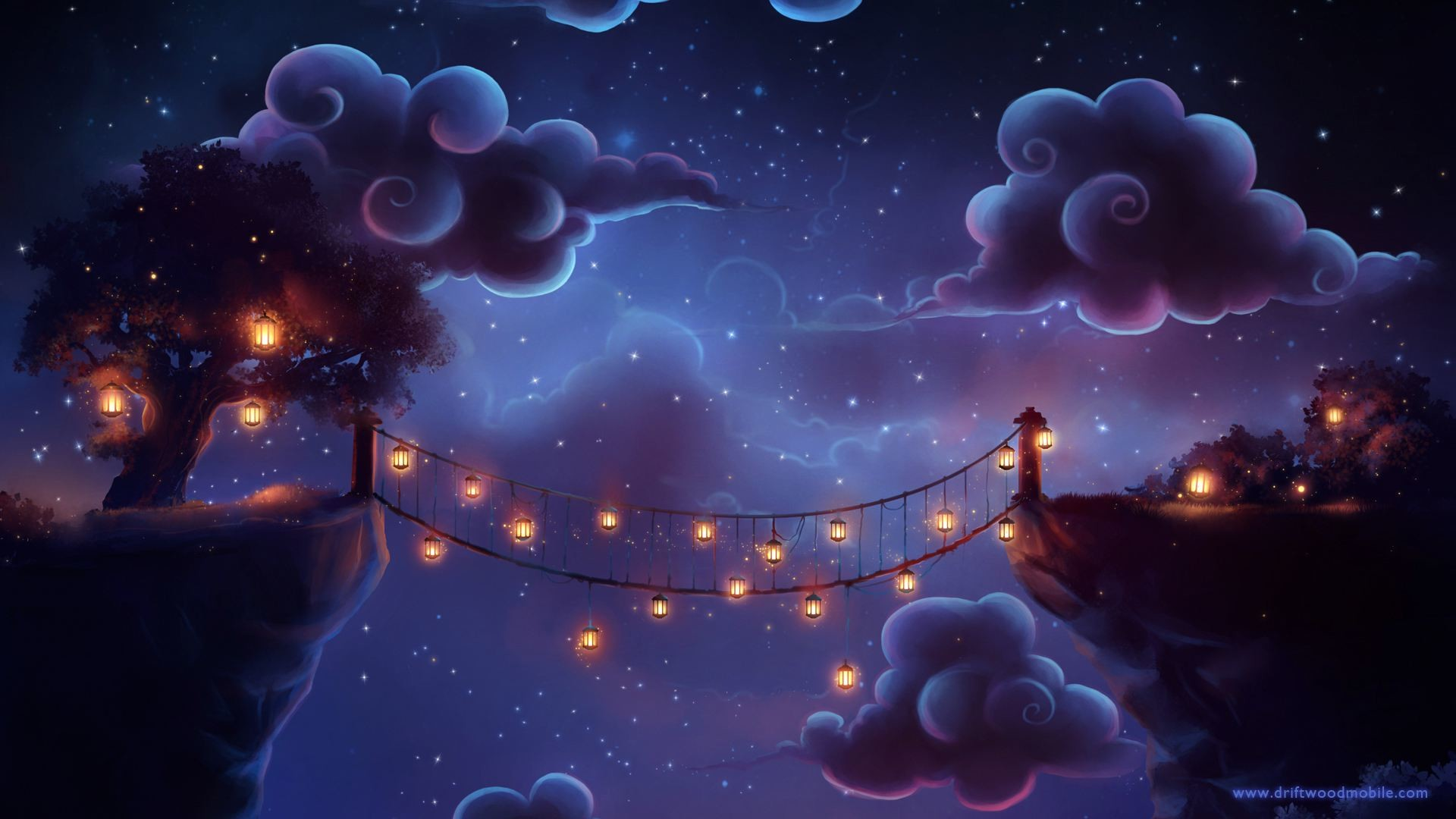 1920x1080 An illustrated wallpaper with a lighted bridge