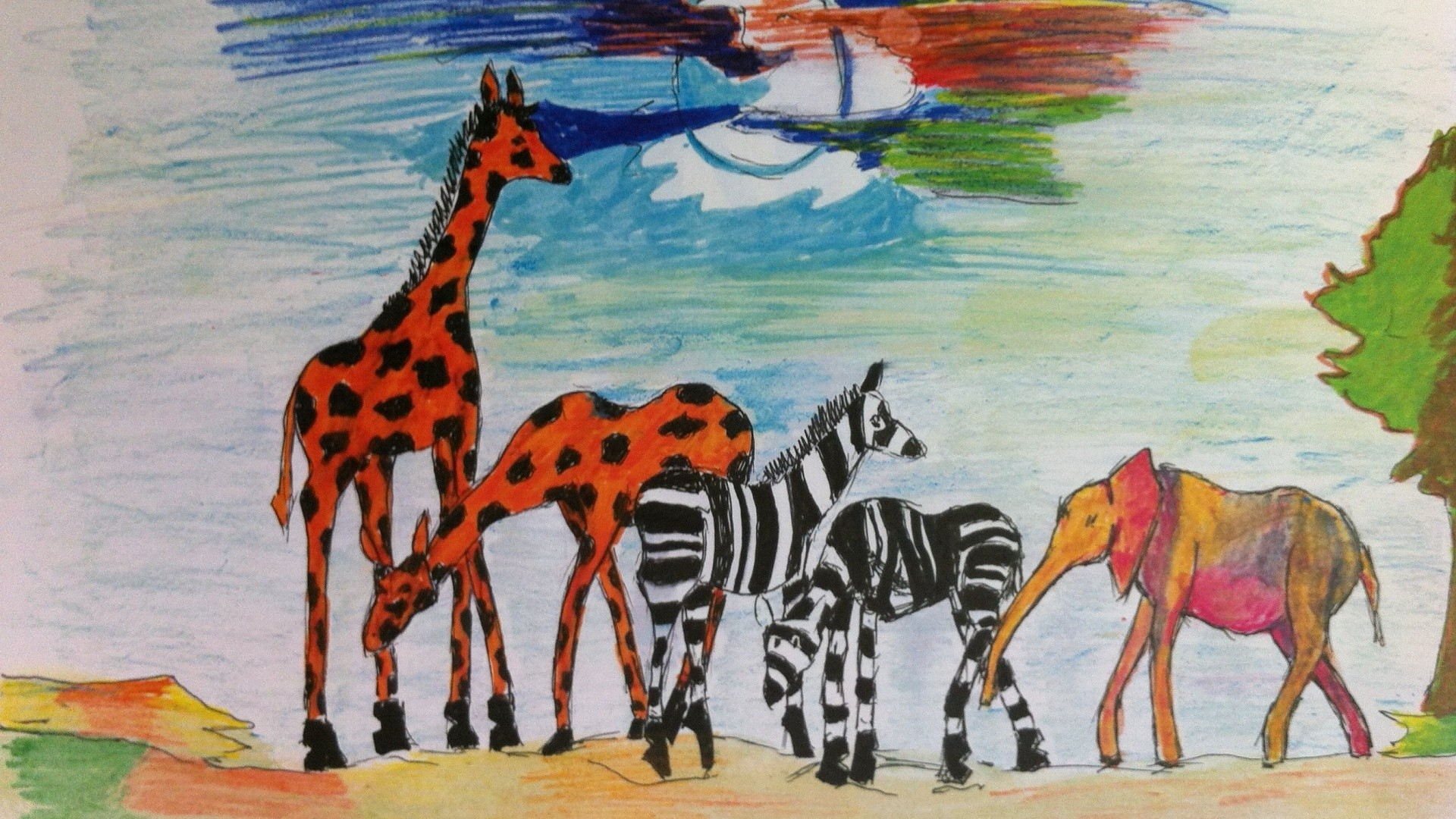 1920x1080 Africa, Arts, Drawing, African Art, African Art Drawing, African Wild  Animals
