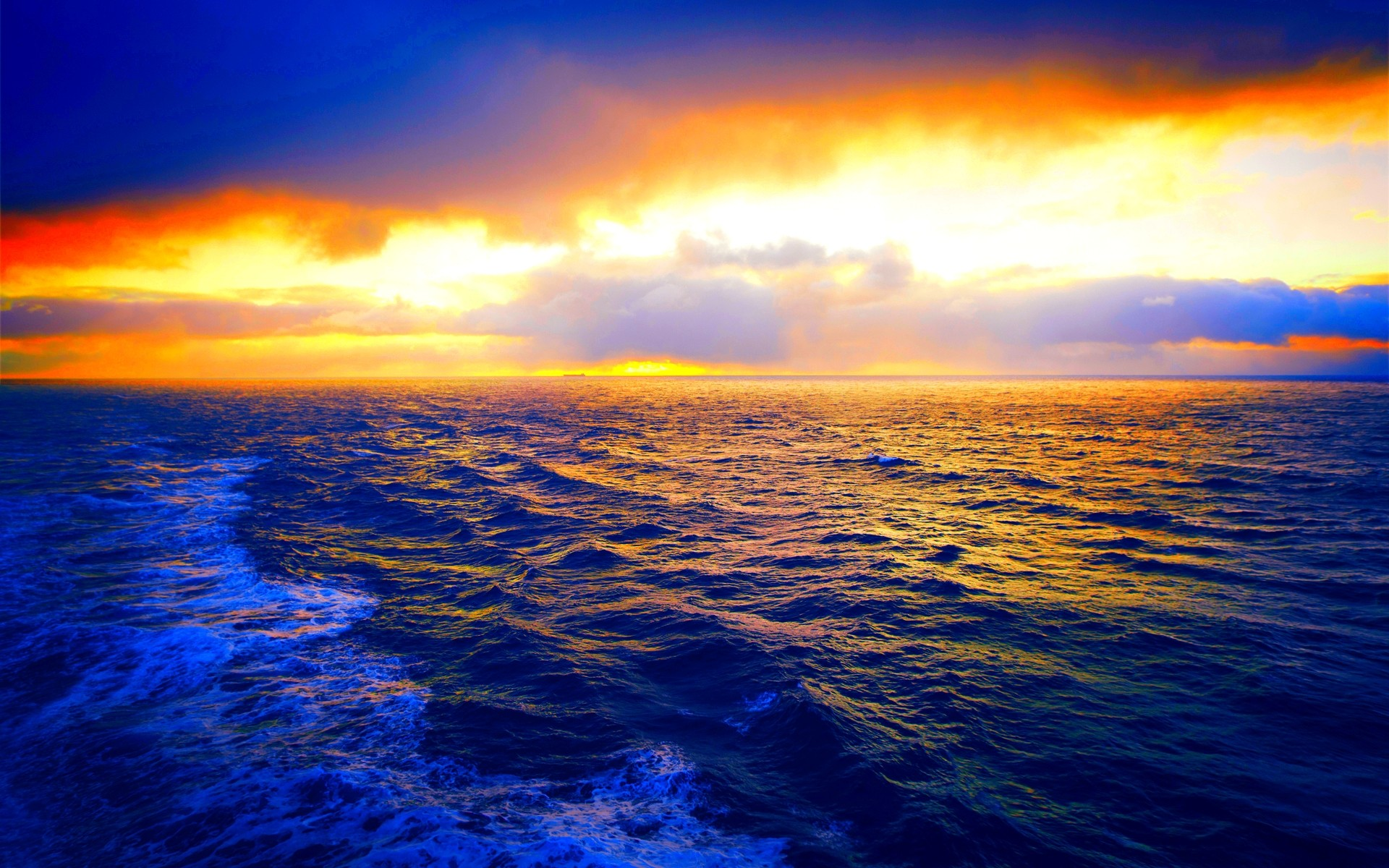 1920x1200 Beautiful Blue Ocean With Orange Sky photos Ocean Beauty That You Can See  All The Time
