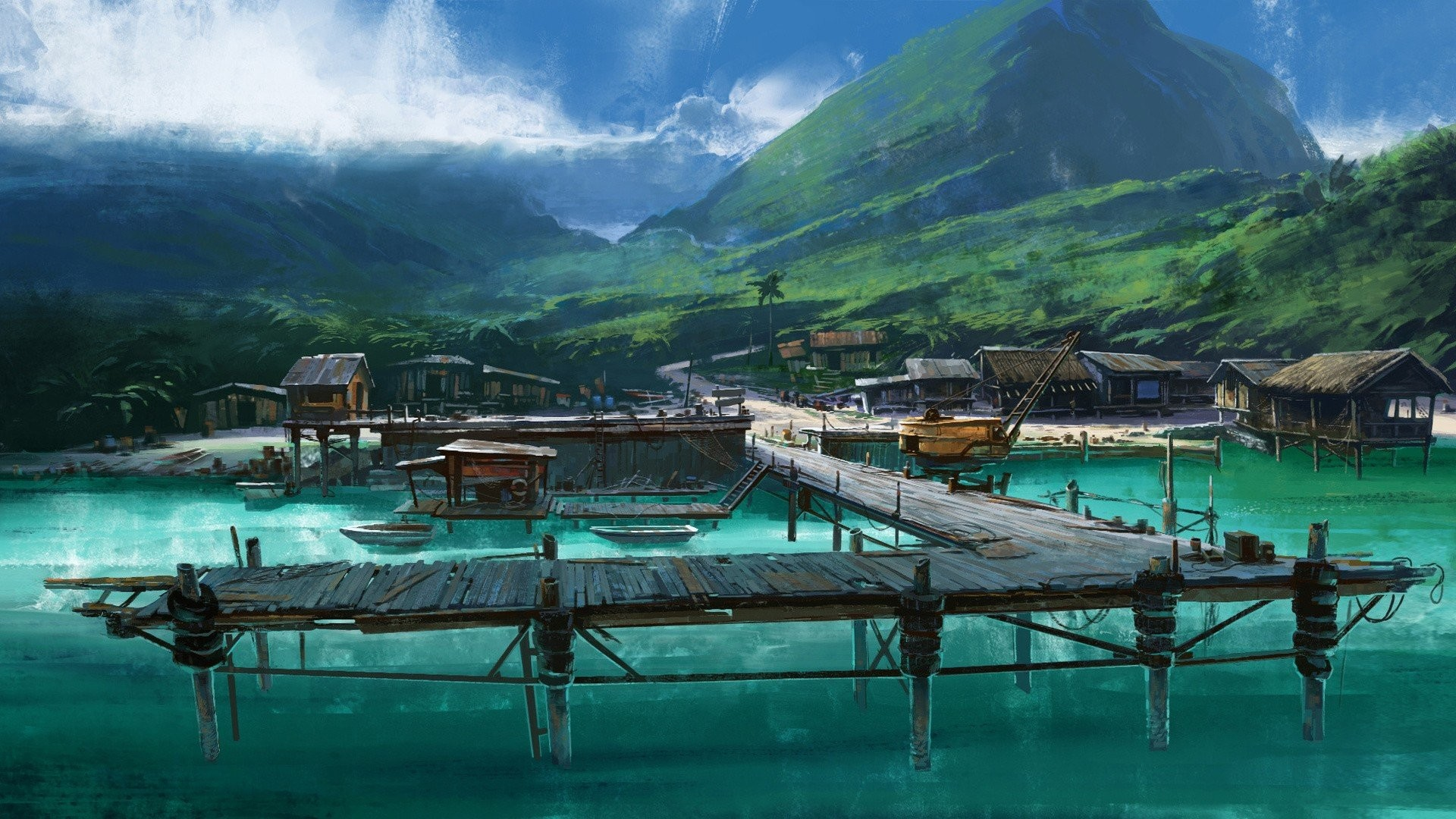 1920x1080 Artwork Boats Dock Drawings Far Cry 3 Landscapes Mountains Sea Tropical  Vehicles