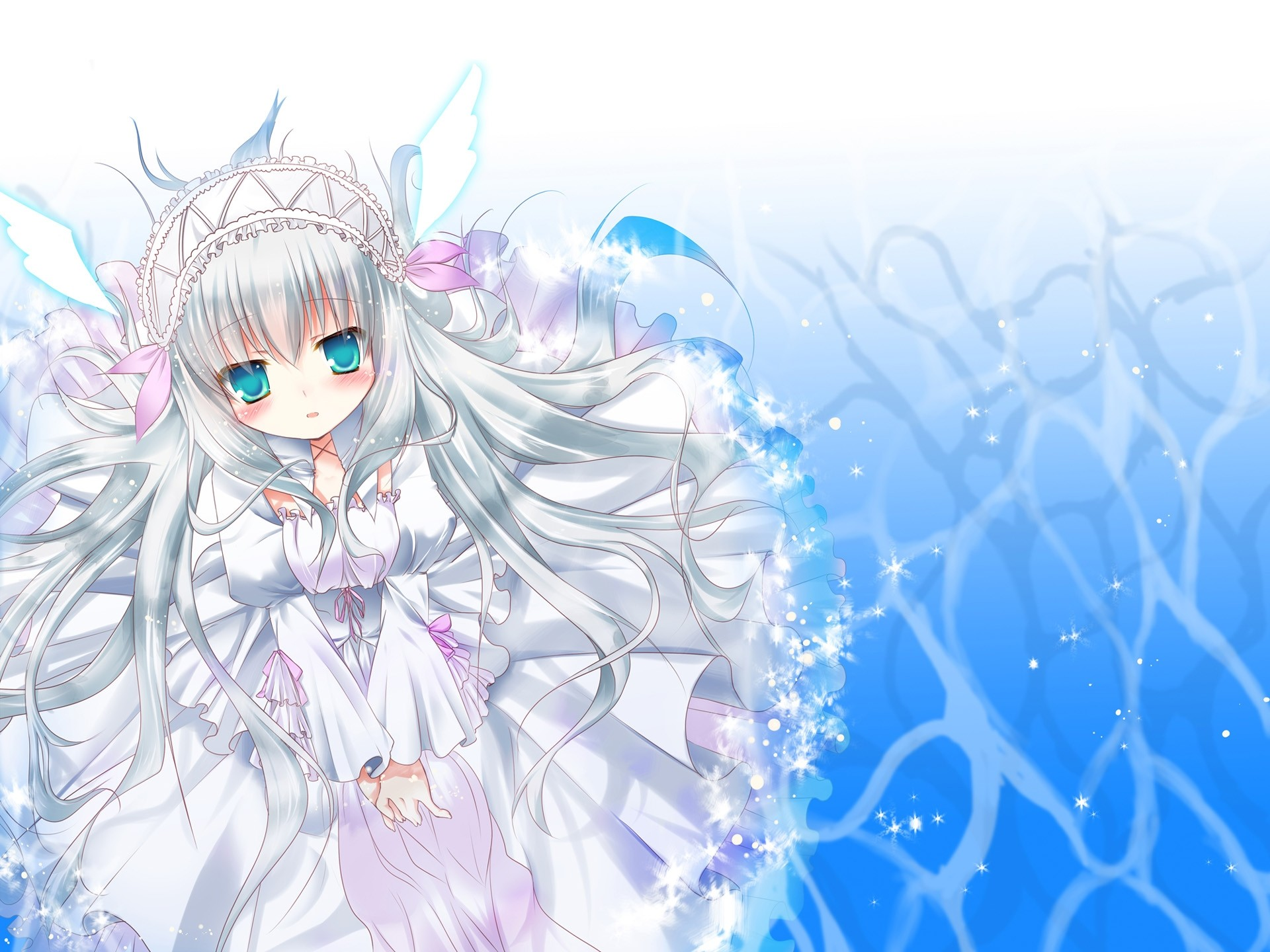 1920x1080 Anime Girls Cat Girl Nekomimi Short Hair Blue Original Characters White Background