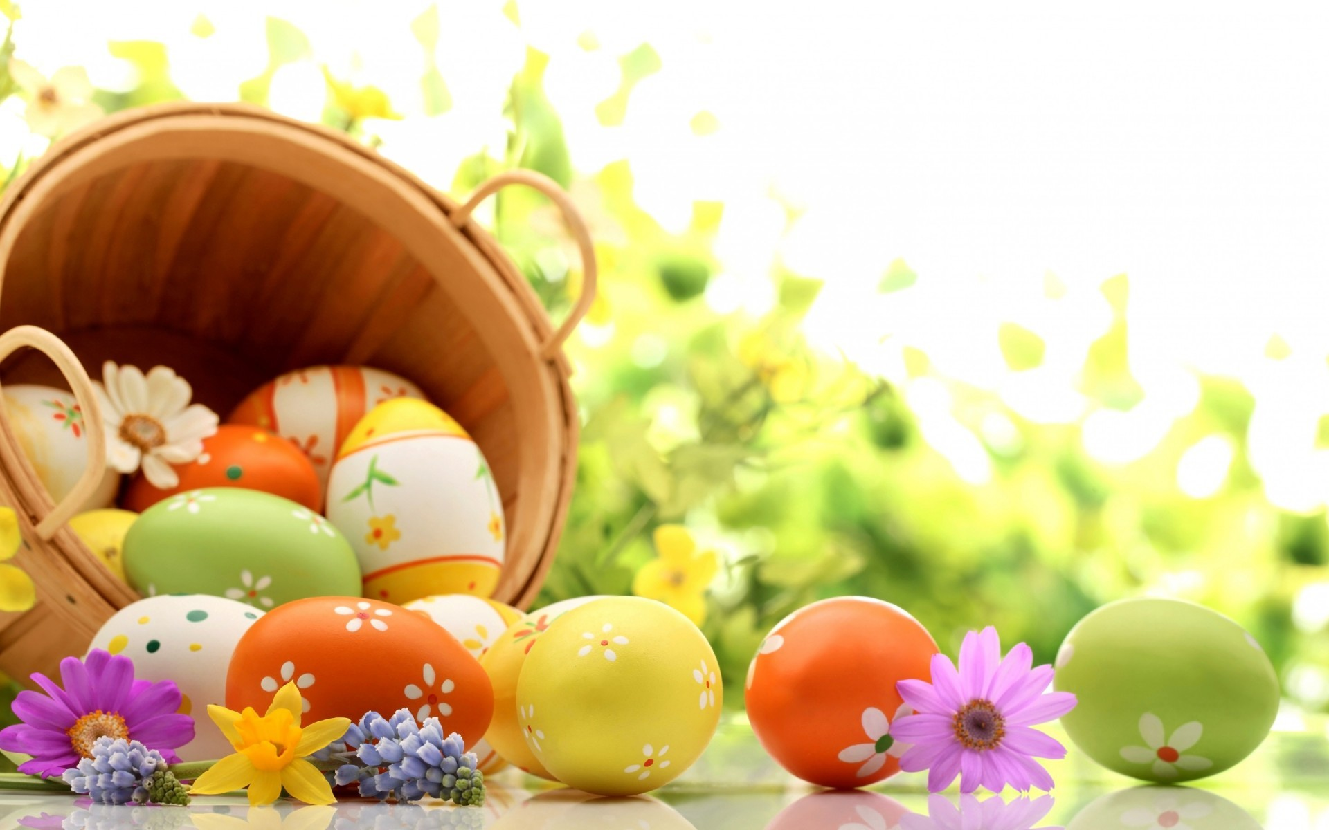 1920x1200 Colored Easter Eggs and Tiny Flowers