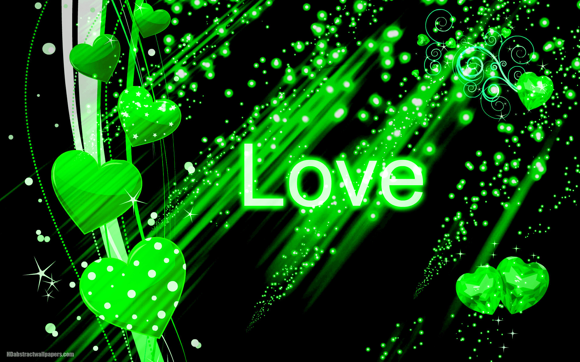 1920x1200 Beautiful black abstract wallpaper with green love hearts and the text love.  Send this background to your boy or girlfriend, just to say that you are  deeply ...