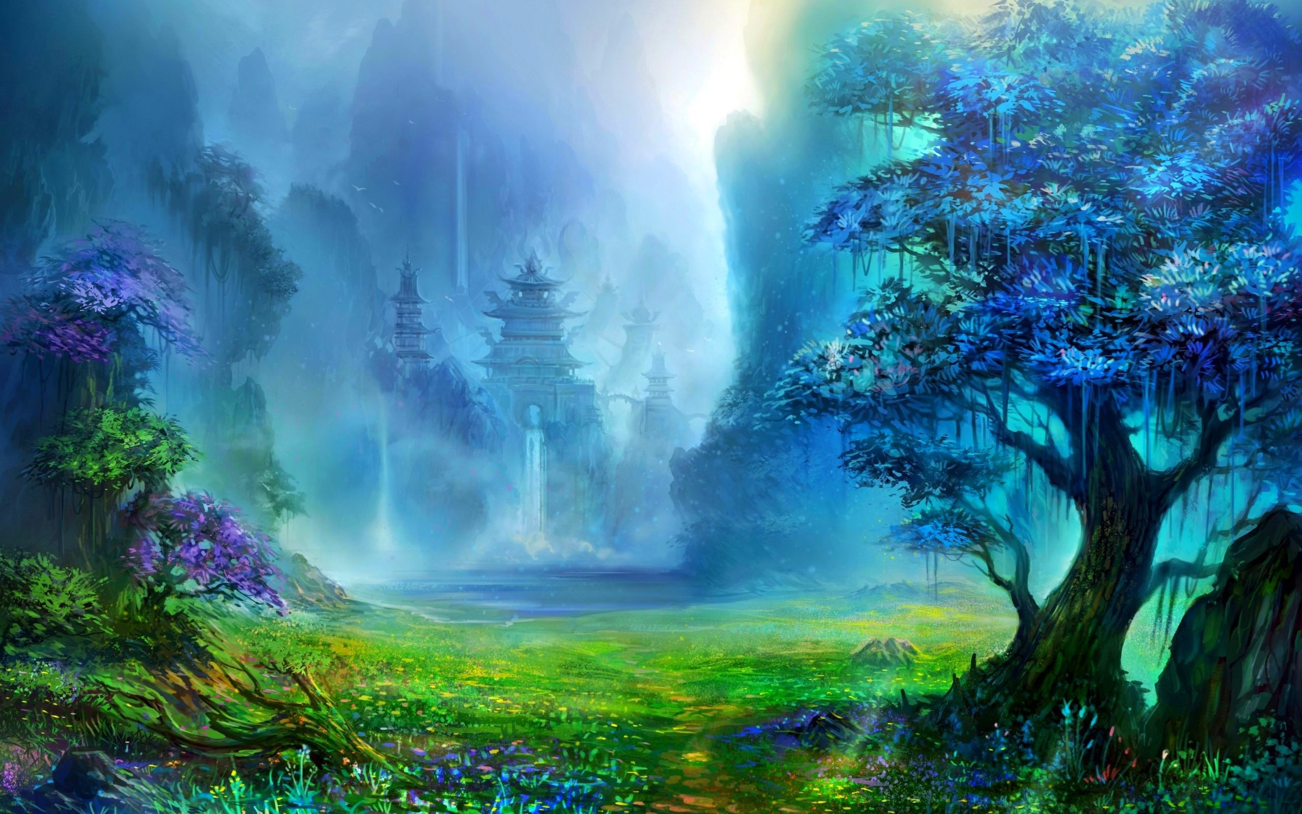 fantasy landscape nature digital wallpapers asian waterfall water trees artwork desktop architecture mountain hd forest pagoda mobile background backgrounds windows