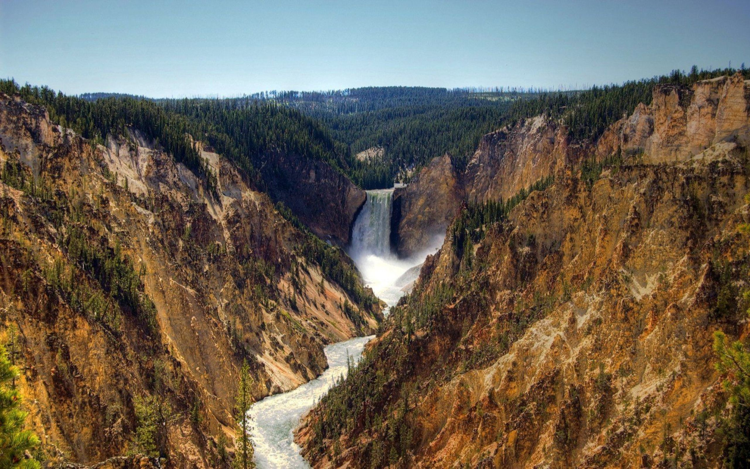 2560x1600 Upper Yellowstone Falls, Grand Canyon National Park, Chute, Escarpment,  Denali National Park