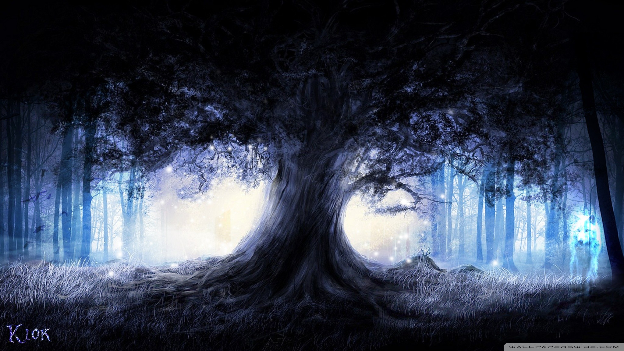 Dark fantasy forest moon