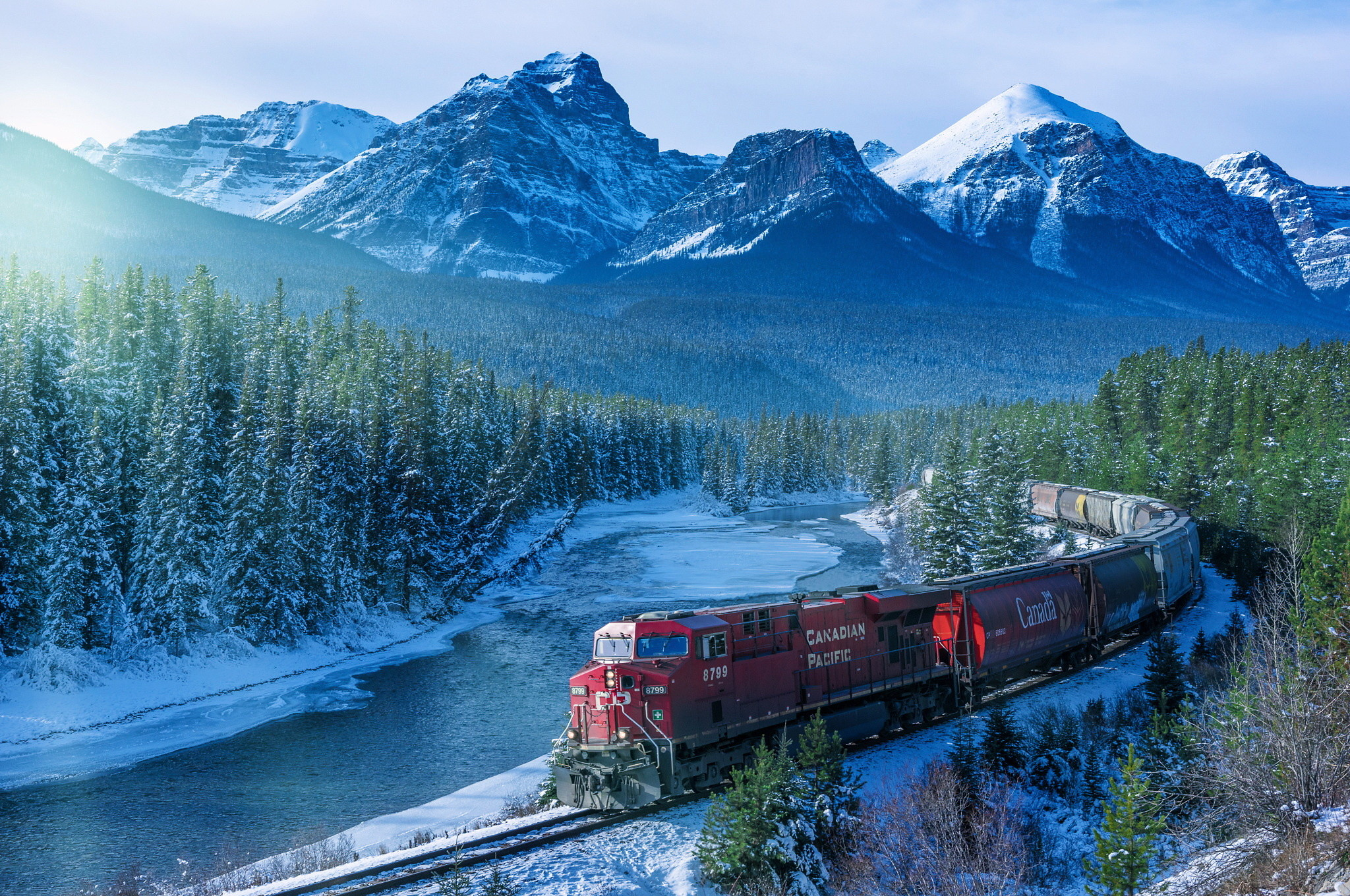 2048x1360 railway, train, Canada, Alberta, mountains, winter, forest, river