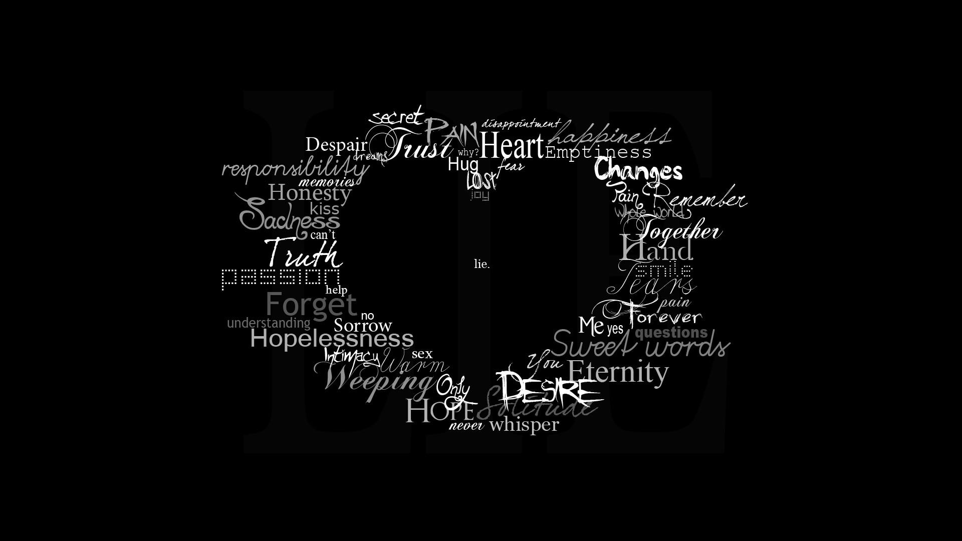 1920x1080 Black Background Heart Symbol Text Typography Artwork