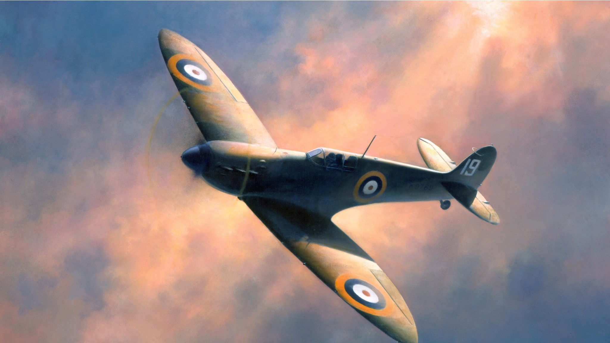 2048x1152 WWII Flying Spitfire Painting