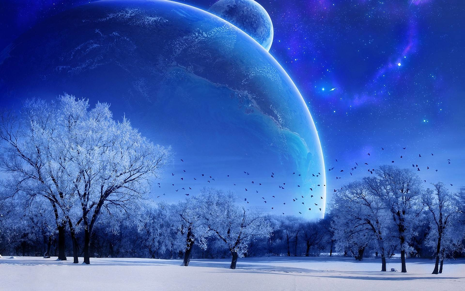 1920x1200 winter wonderland planet background