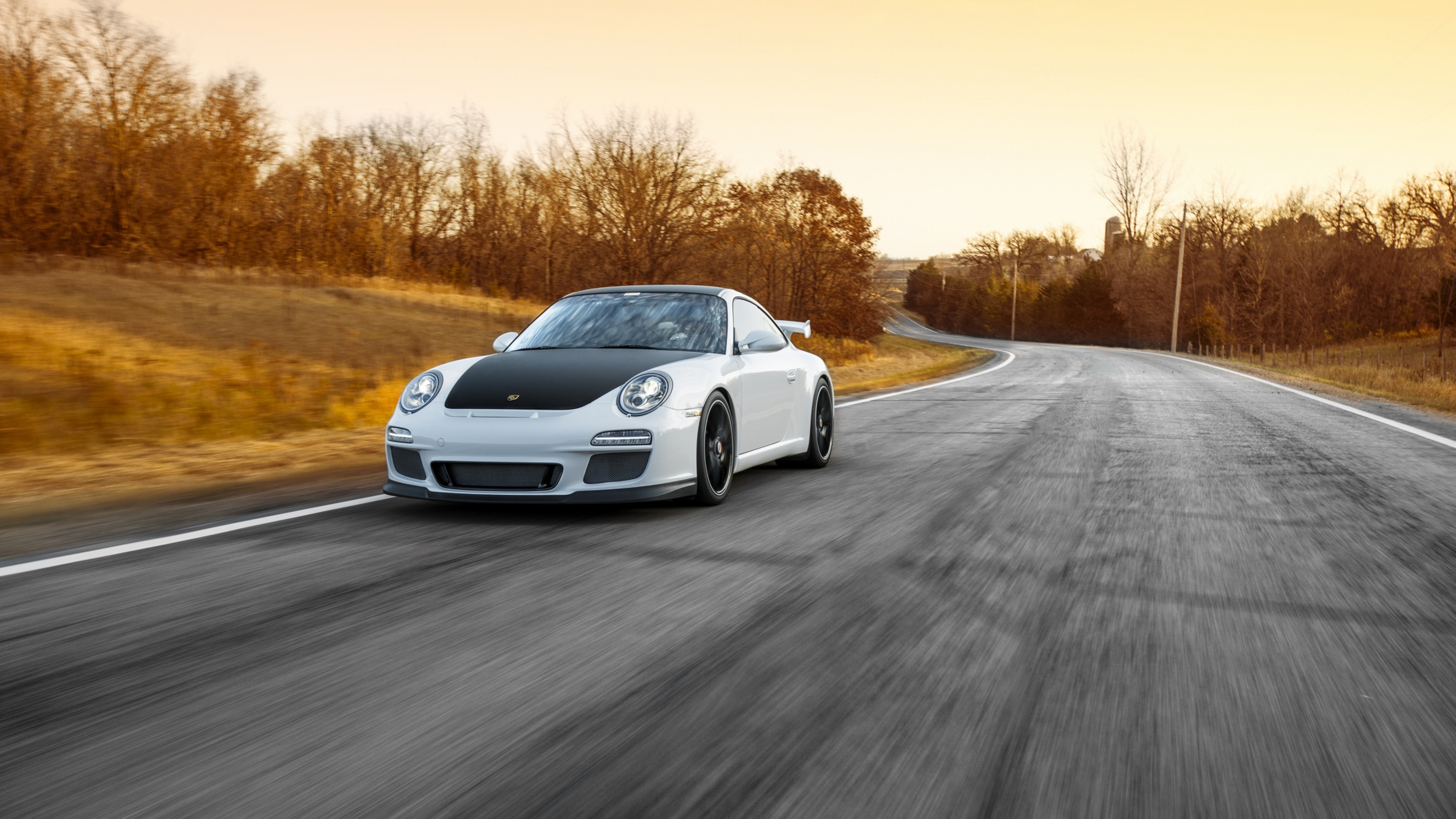 3840x2160 Preview wallpaper porsche, 911, gt3, road, motion, speed