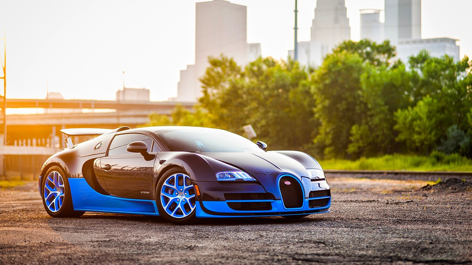 1920x1080 Preview wallpaper bugatti, veyron, grand, blue, side view