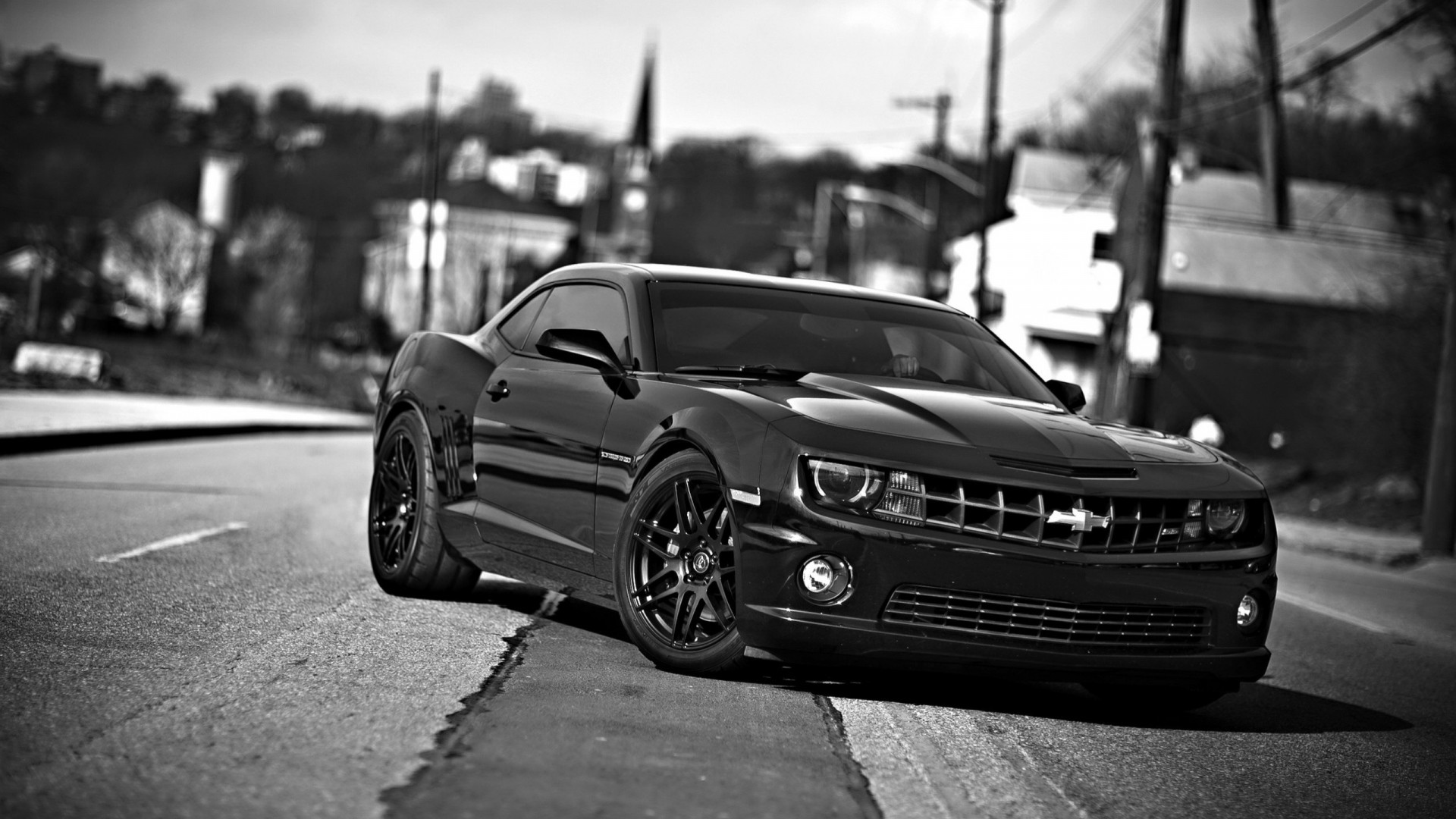 1920x1080 Preview wallpaper chevrolet camaro, chevrolet, cars, front view, black  white