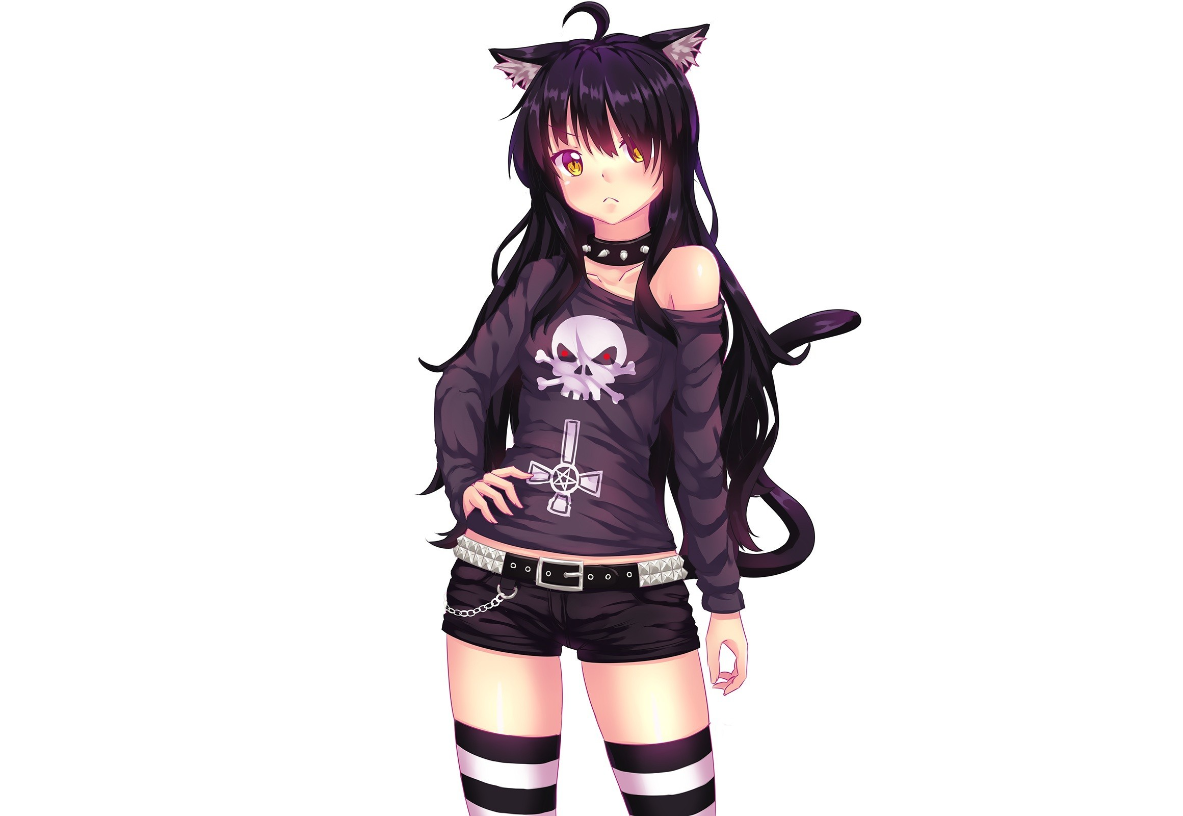 2321x1600 Anime  white background simple background animal ears black hair cat  girl chains choker fast-
