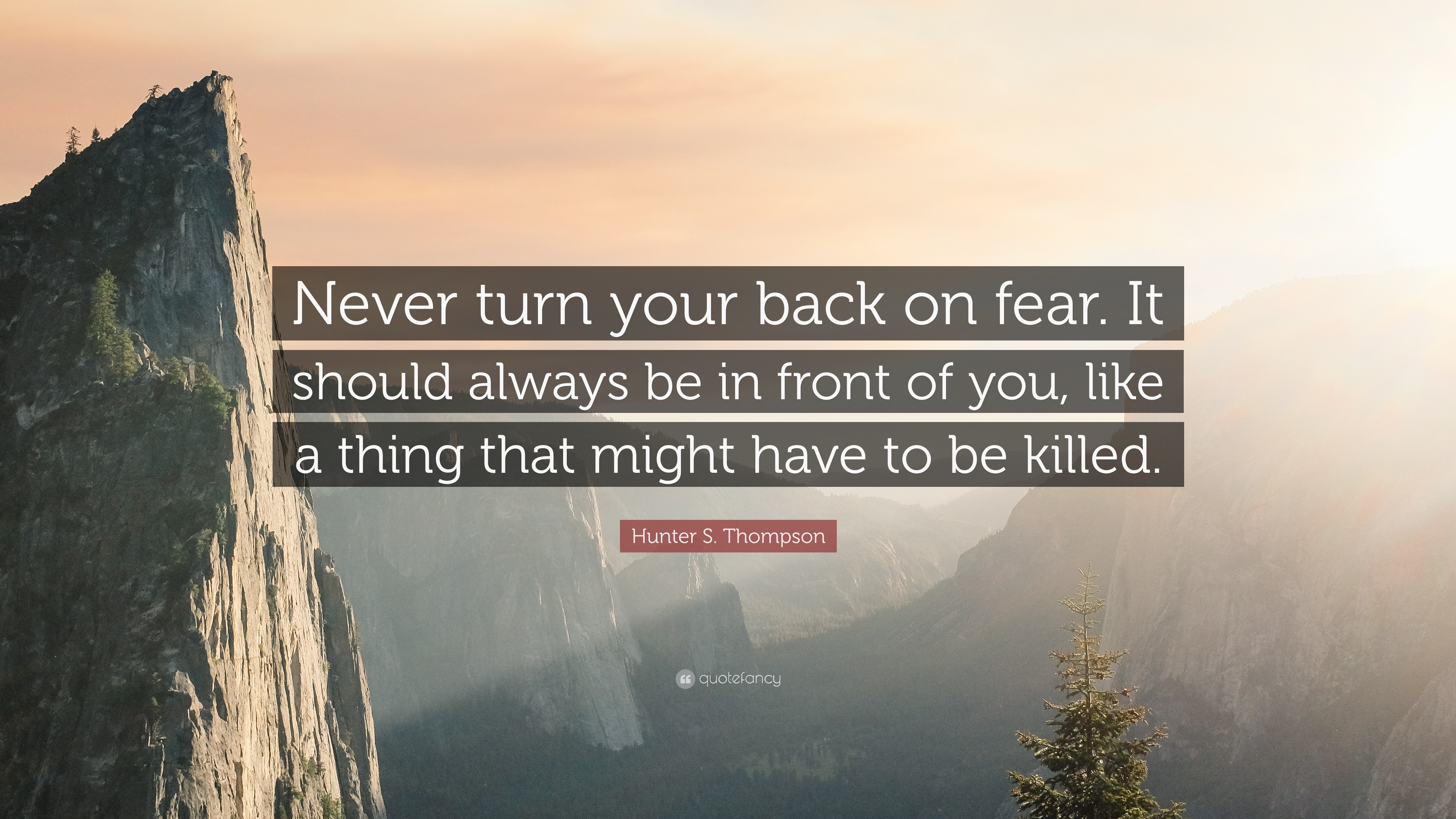 "3840x2160 Hunter S. Thompson Quote: ""Never turn your back on fear. It should"