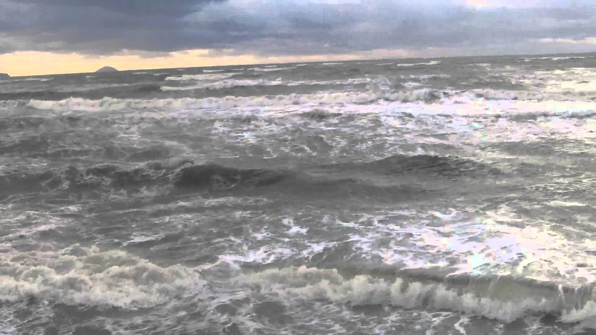 1920x1080 Stormy sea weather and big waves at Prestwick beach Scotland UK Europe