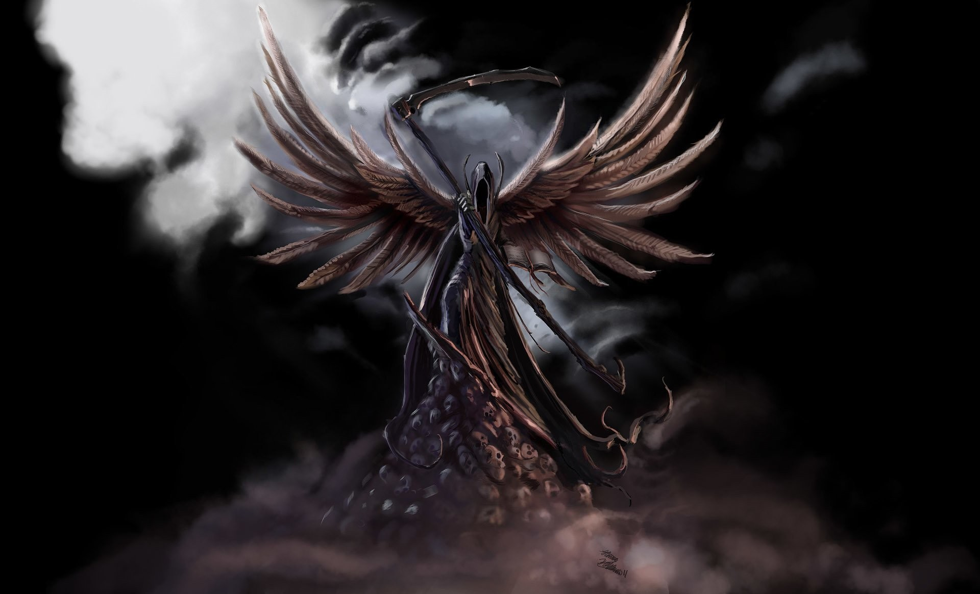 1920x1164 fiction dark angel wings death spit skull fog black background