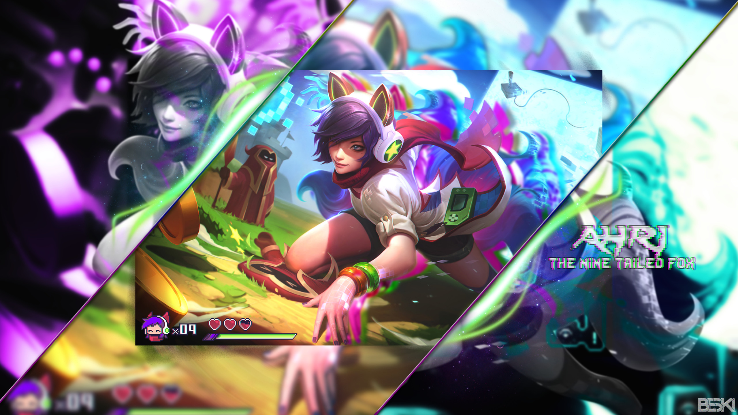 2560x1440 League Of Legends, Ahri, Nine Tailed Fox