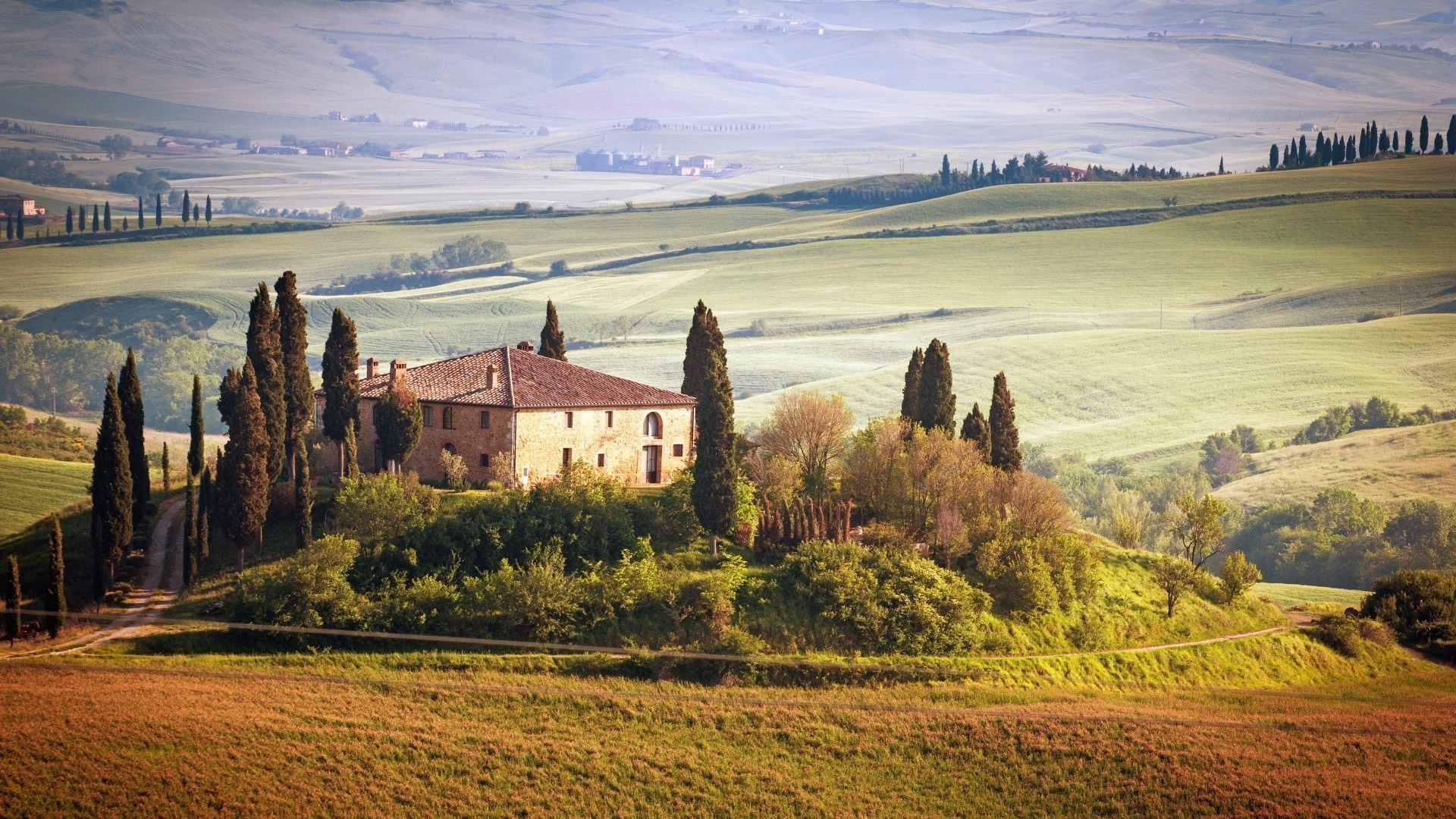 1920x1080 Tuscany, Italy, Nature, Landscape, House Wallpapers HD / Desktop and Mobile  Backgrounds