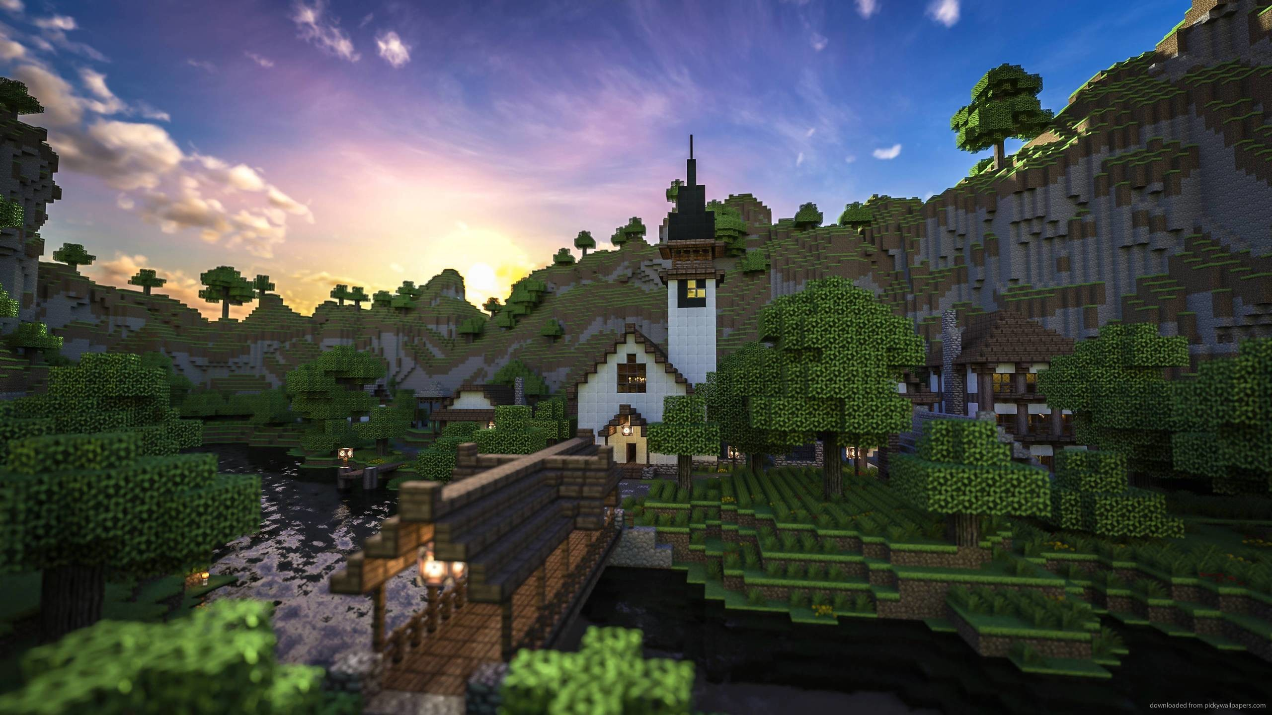 Minecraft background 76 images 2048x1152 preview wallpaper minecraft trees houses mountains water 2048x1152 voltagebd Image collections