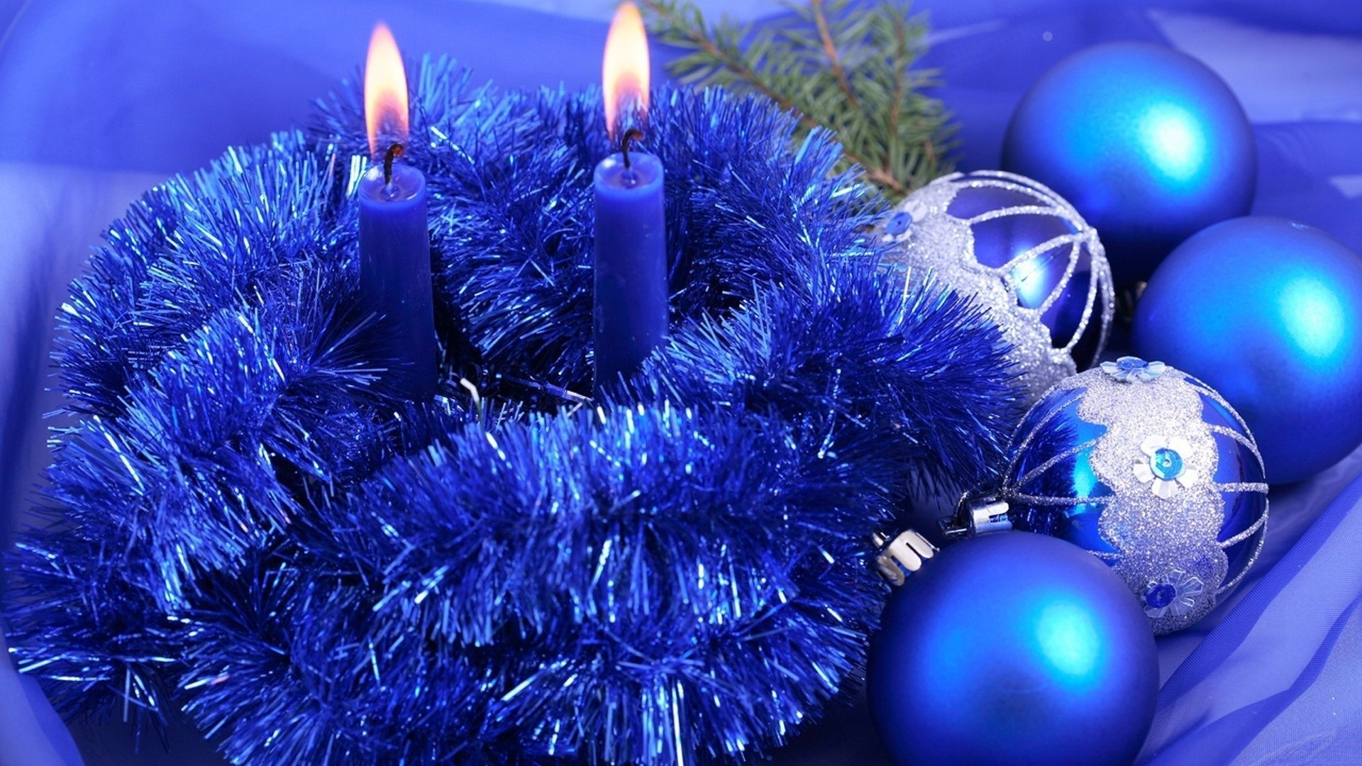 1920x1080 Blue Christmas Candle And Balls Decoration photos of Free Christmas  Wallpapers