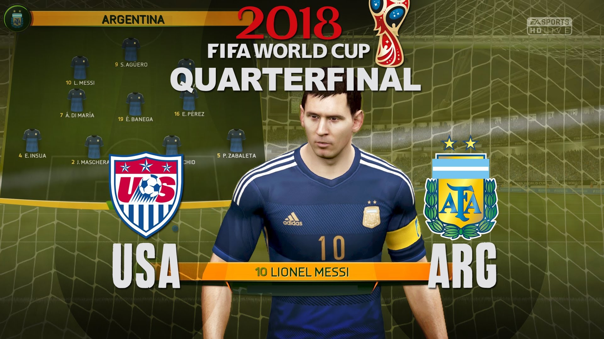 1920x1080 World Cup 2018 - USA vs Argentina - Quarterfinal Match #5 - FIFA Gameplay