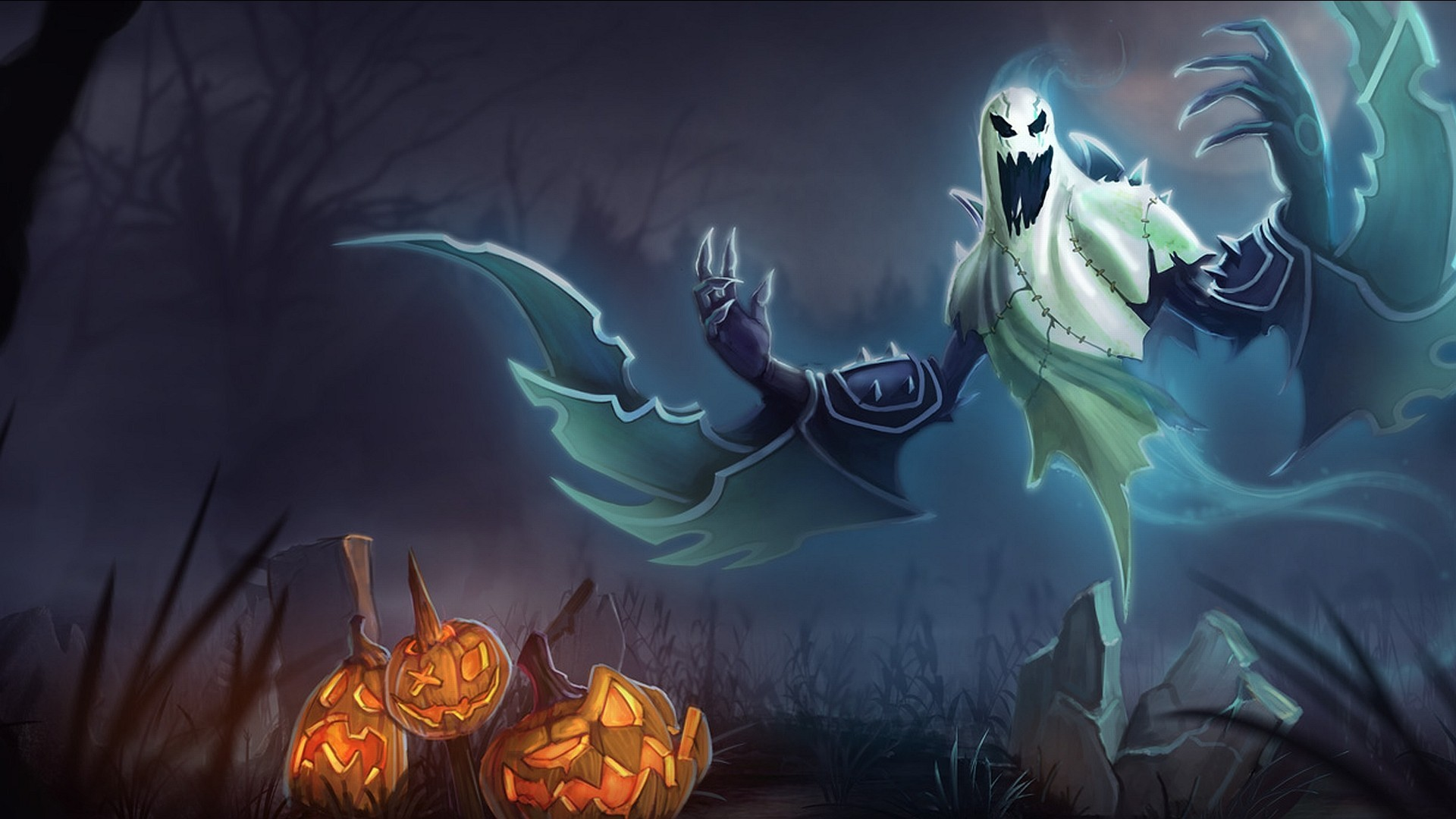 1920x1080 Pumpkins Halloween Ghost Desktop Wallpaper
