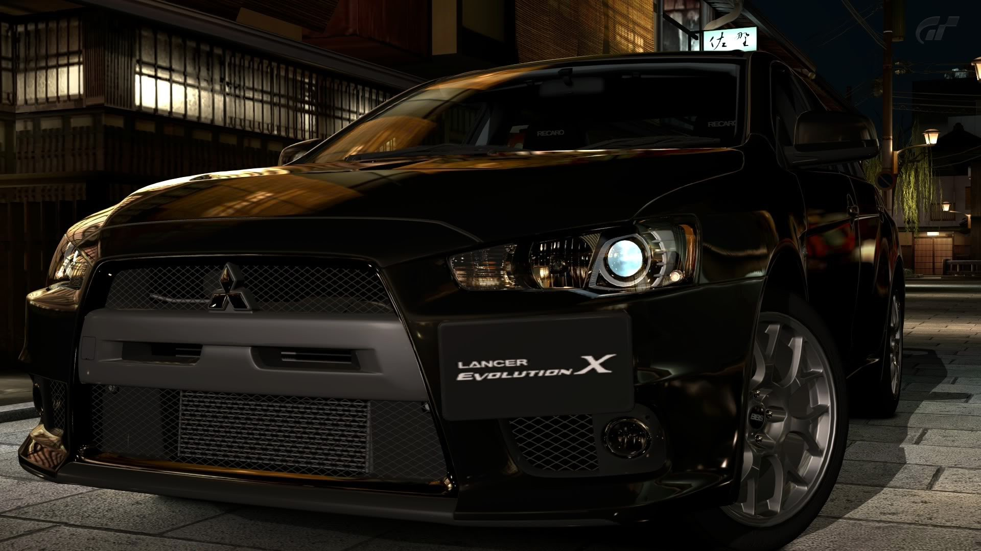 Mitsubishi Lancer Evolution X Tuning Front Green Fire  .