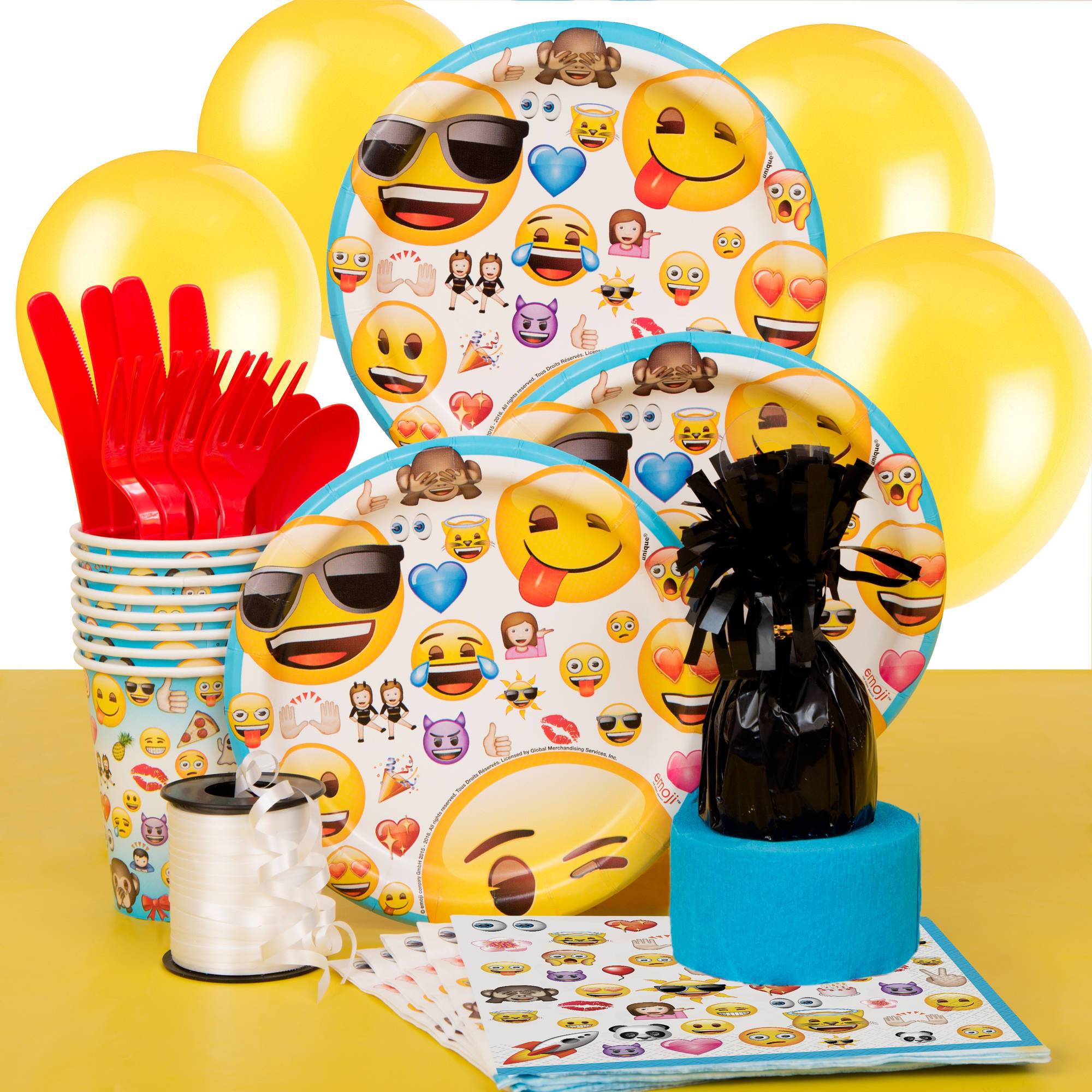2000x2000 Emoji Party Supplies Kit for 8