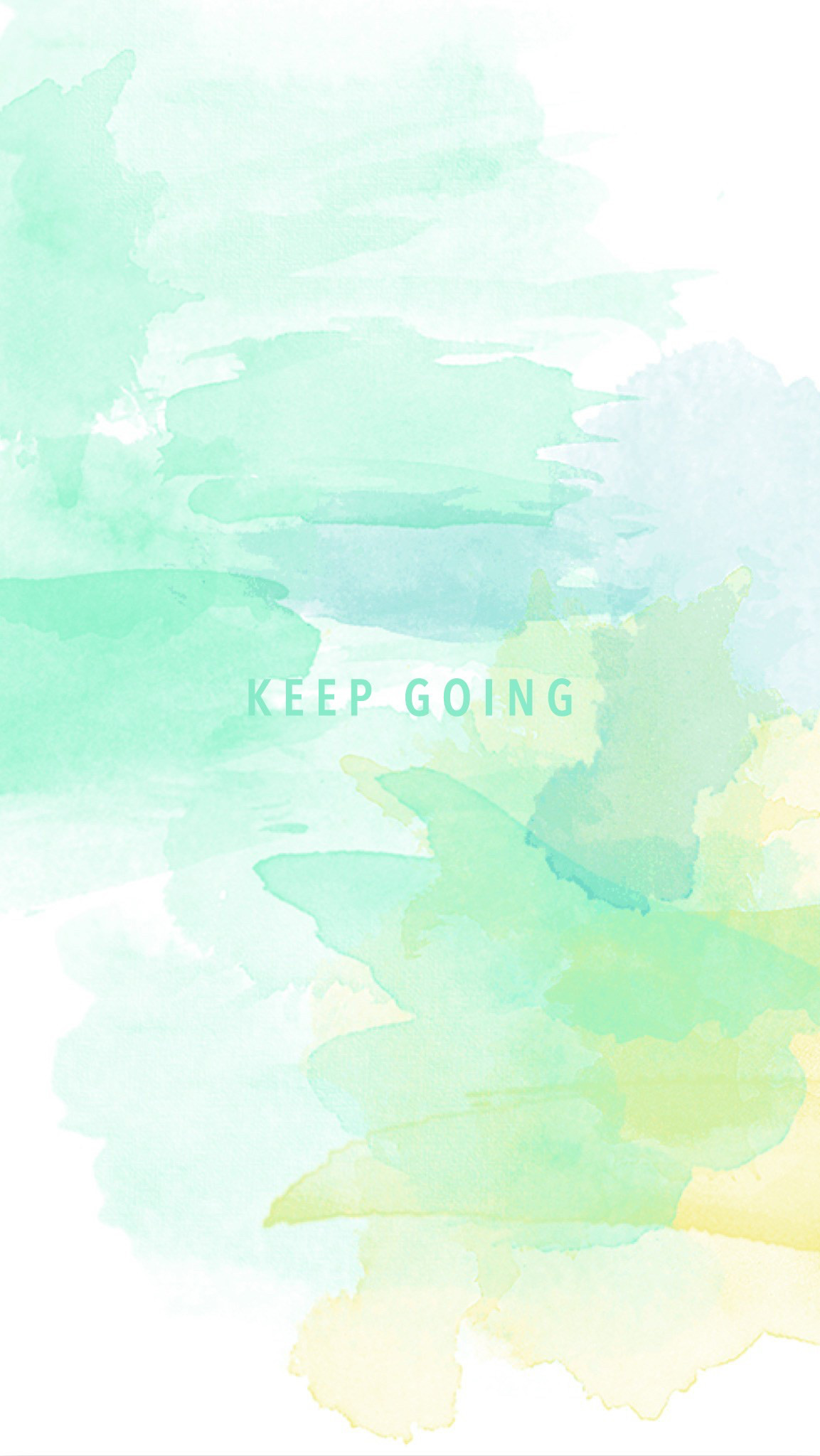 1153x2048 Mint green yellow watercolor Keep Going phone wallpaper phone background