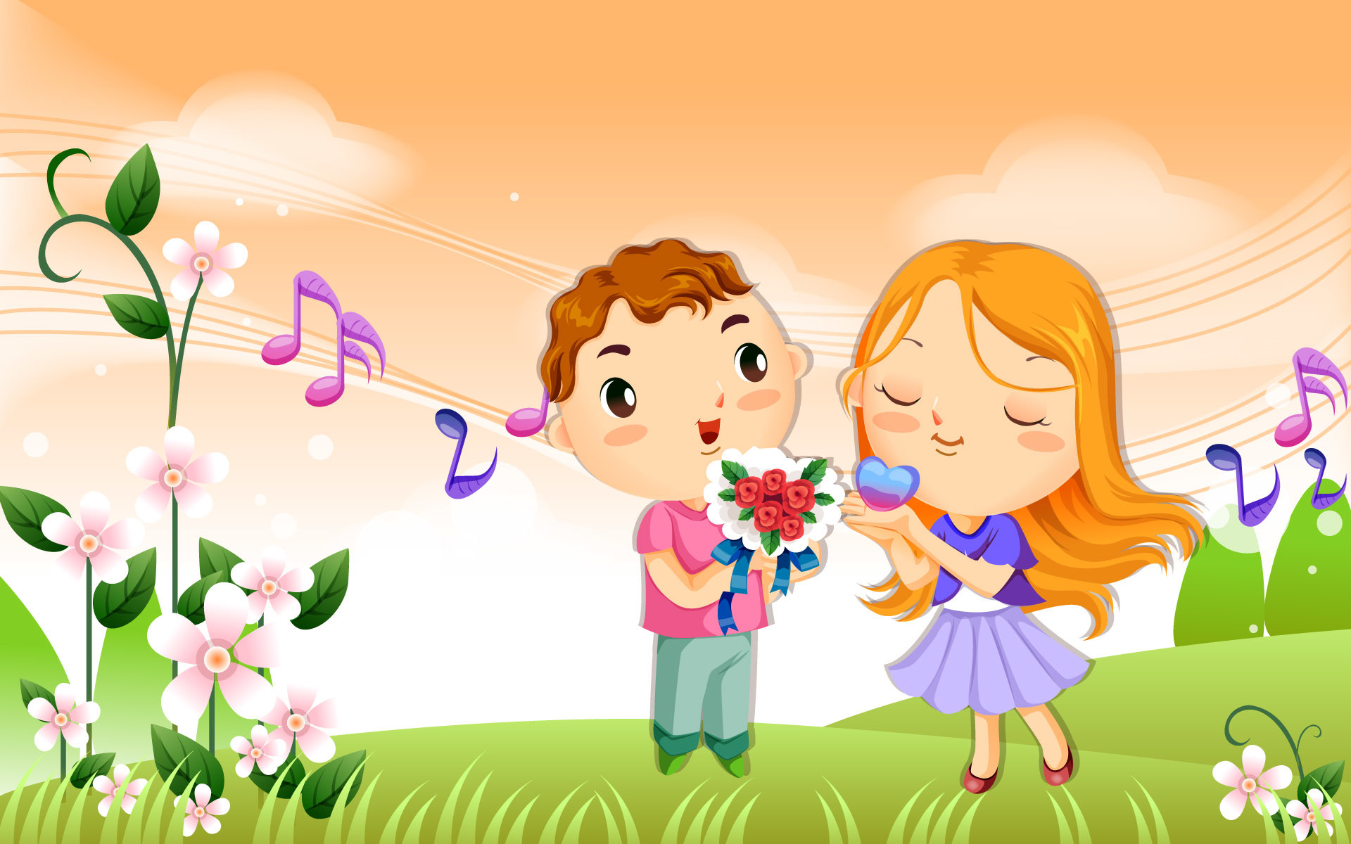1920x1200 Cute Cartoon Couple Wallpaper | Hd Wallpapers Download