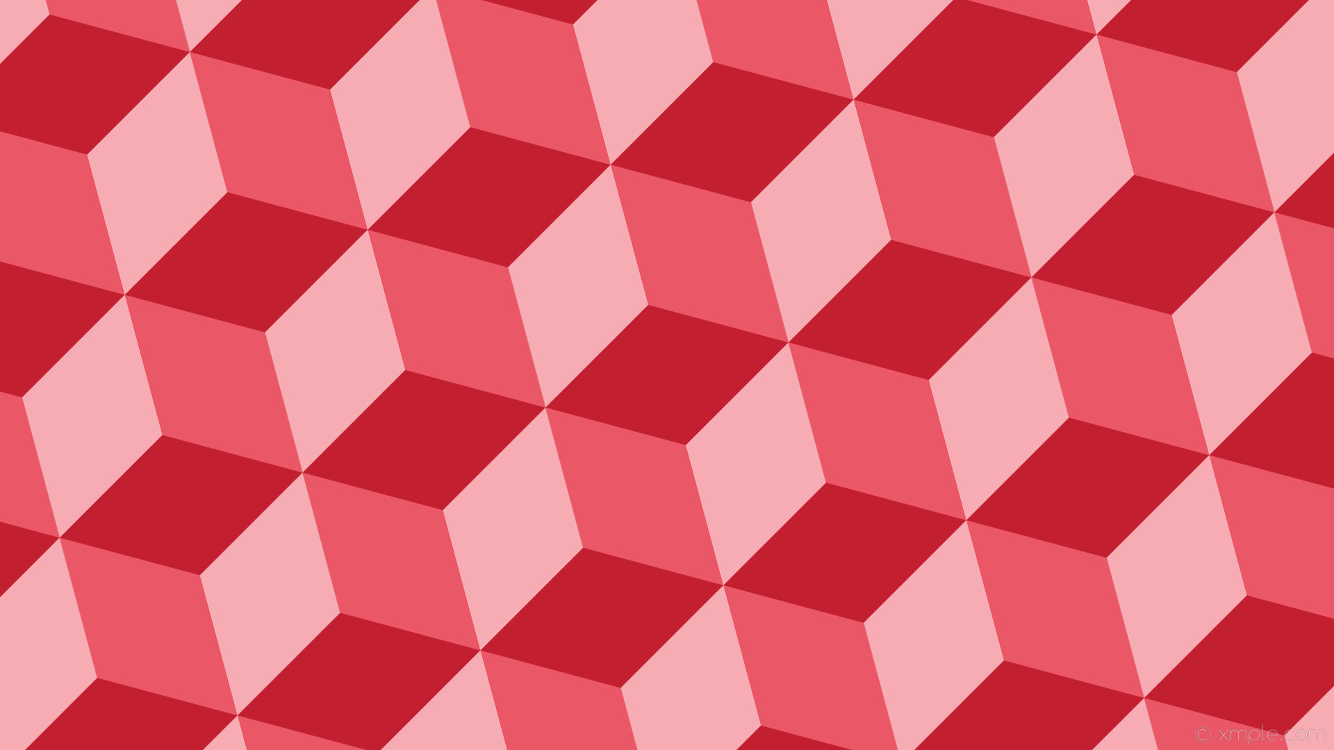 1920x1080 wallpaper red 3d cubes light red #c21f30 #ea5767 #f7abb3 195° 209px
