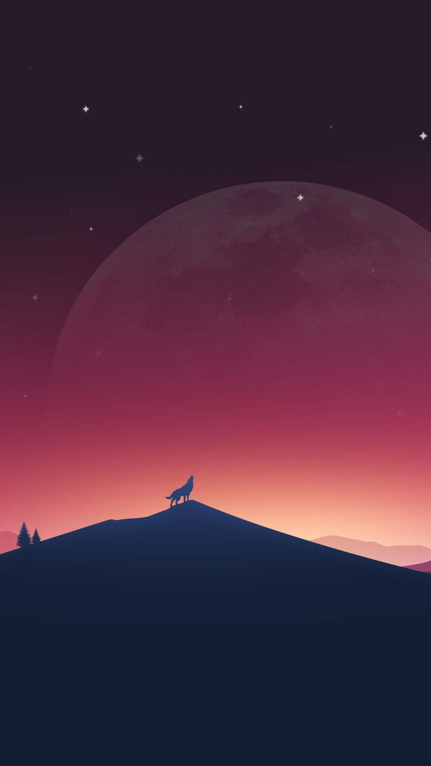 1440x2560 Download Wolf Howling At The Moon HD wallpaper for Nexus 6P .