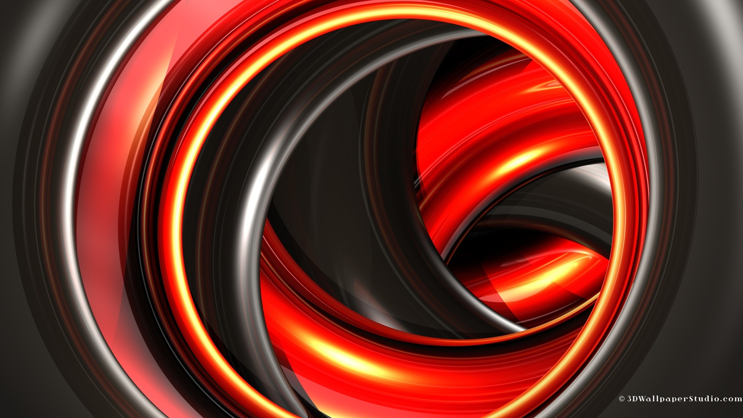2560x1440 Black and red 3d abstract wallpaper in  screen resolution