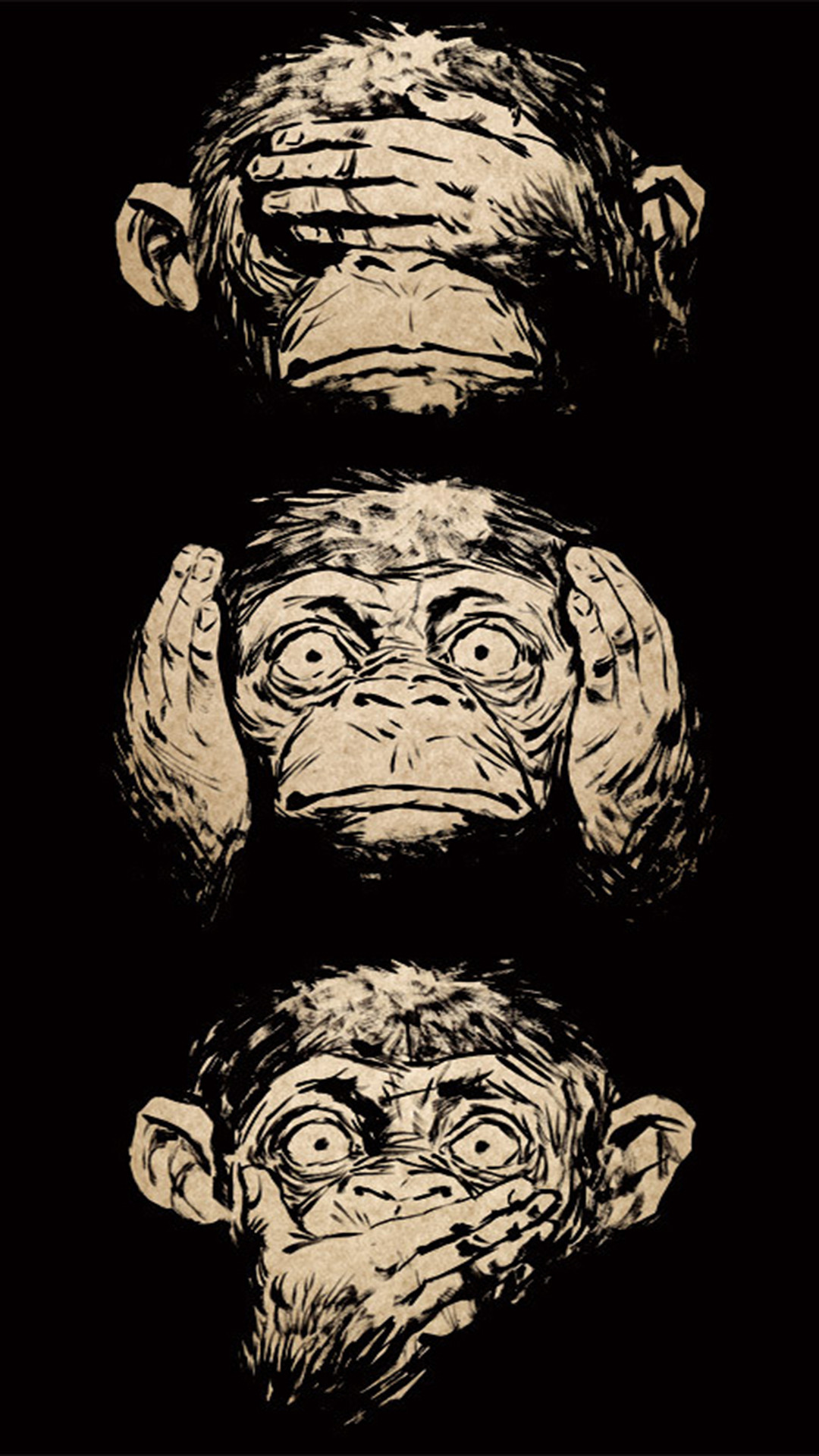 1080x1920 Three Wise Monkeys Wisdom iPhone 6 Plus HD Wallpaper ...
