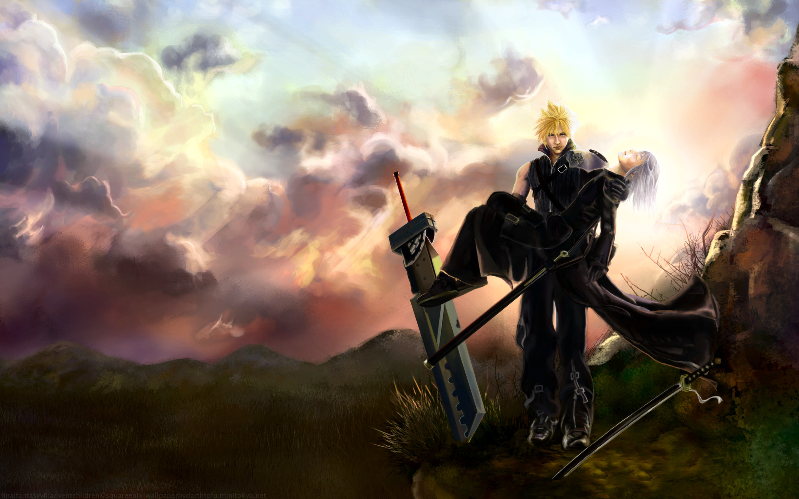 2560x1600 Tags: Anime, Final Fantasy VII, Kadaj, Cloud Strife,  Wallpaper,