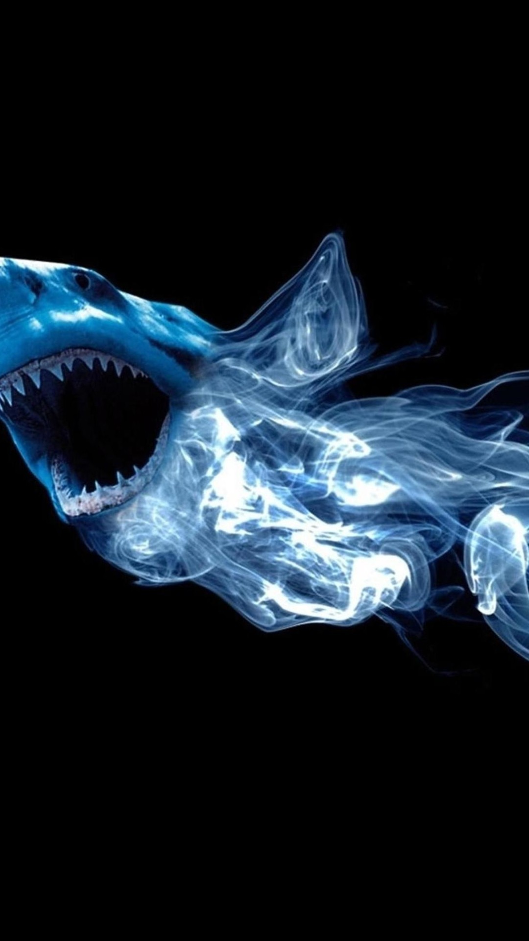 1080x1920 Abstract Shark Neon Light Smoke Android Wallpaper ...