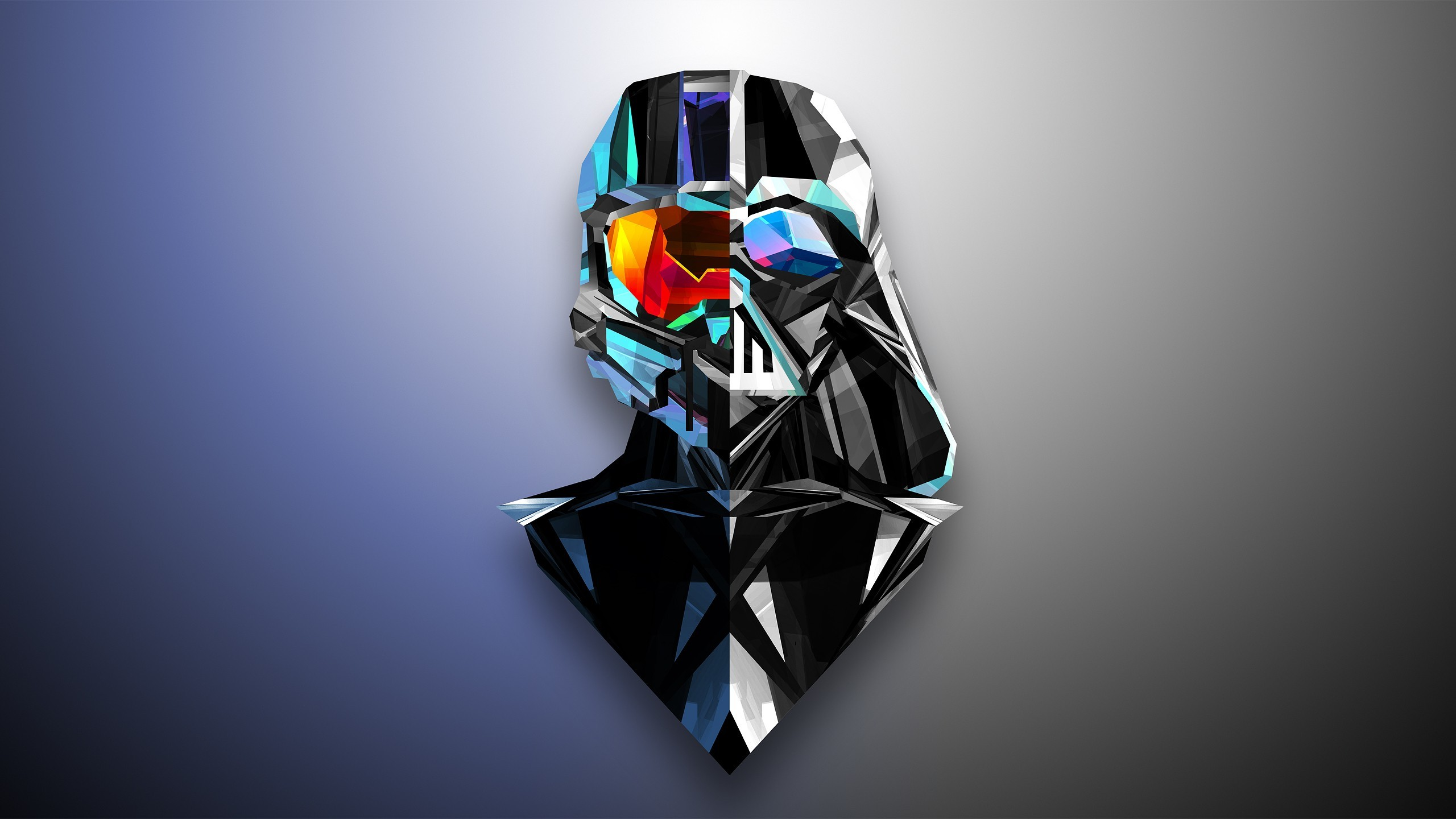 2560x1440 Abstract, Darth Vader, Master Chief, Low Poly, Justin Maller, Halo .