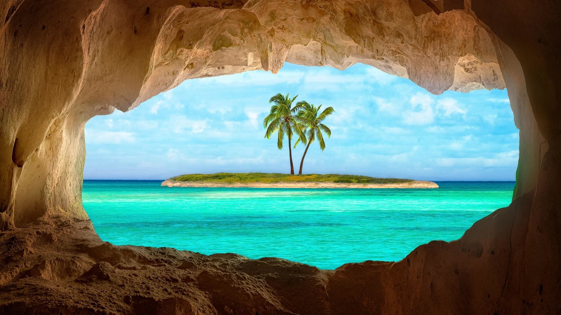 1920x1080 Old Indian cave on Turks and Caicos Island wallpaper