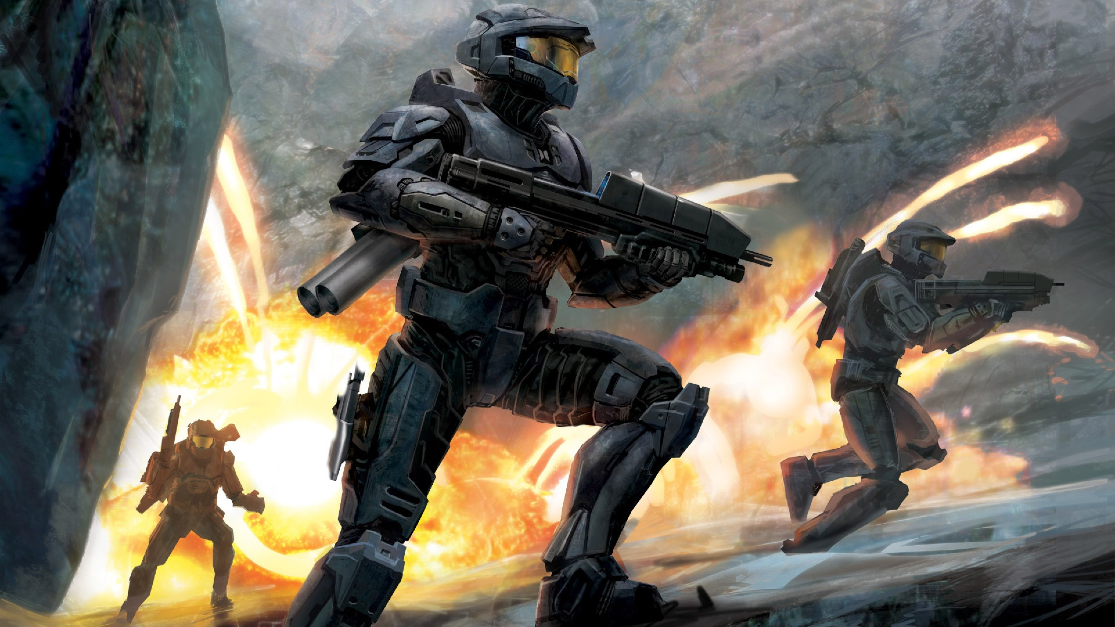 3840x2160 Preview wallpaper halo, soldiers, fire, gun