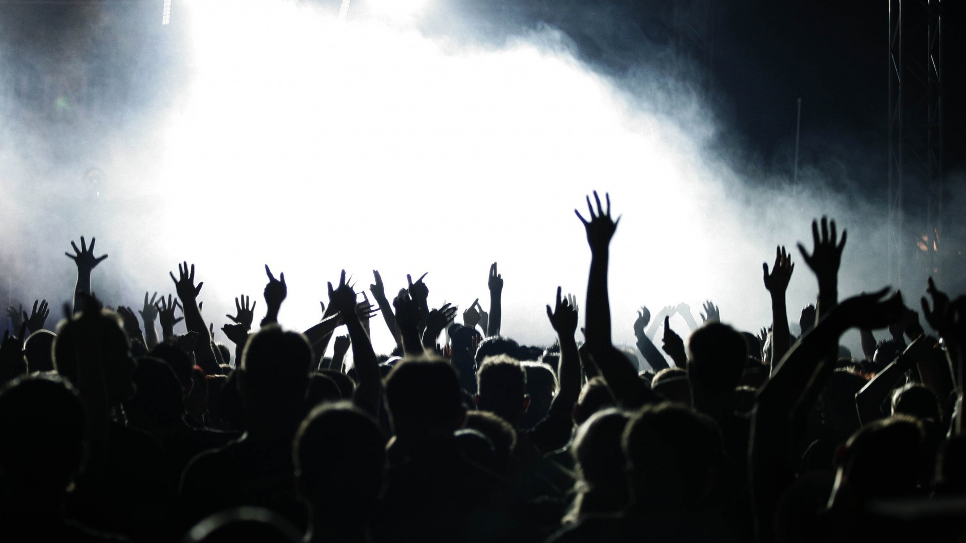 1920x1080  Wallpaper people, hands, concert, music, crowd