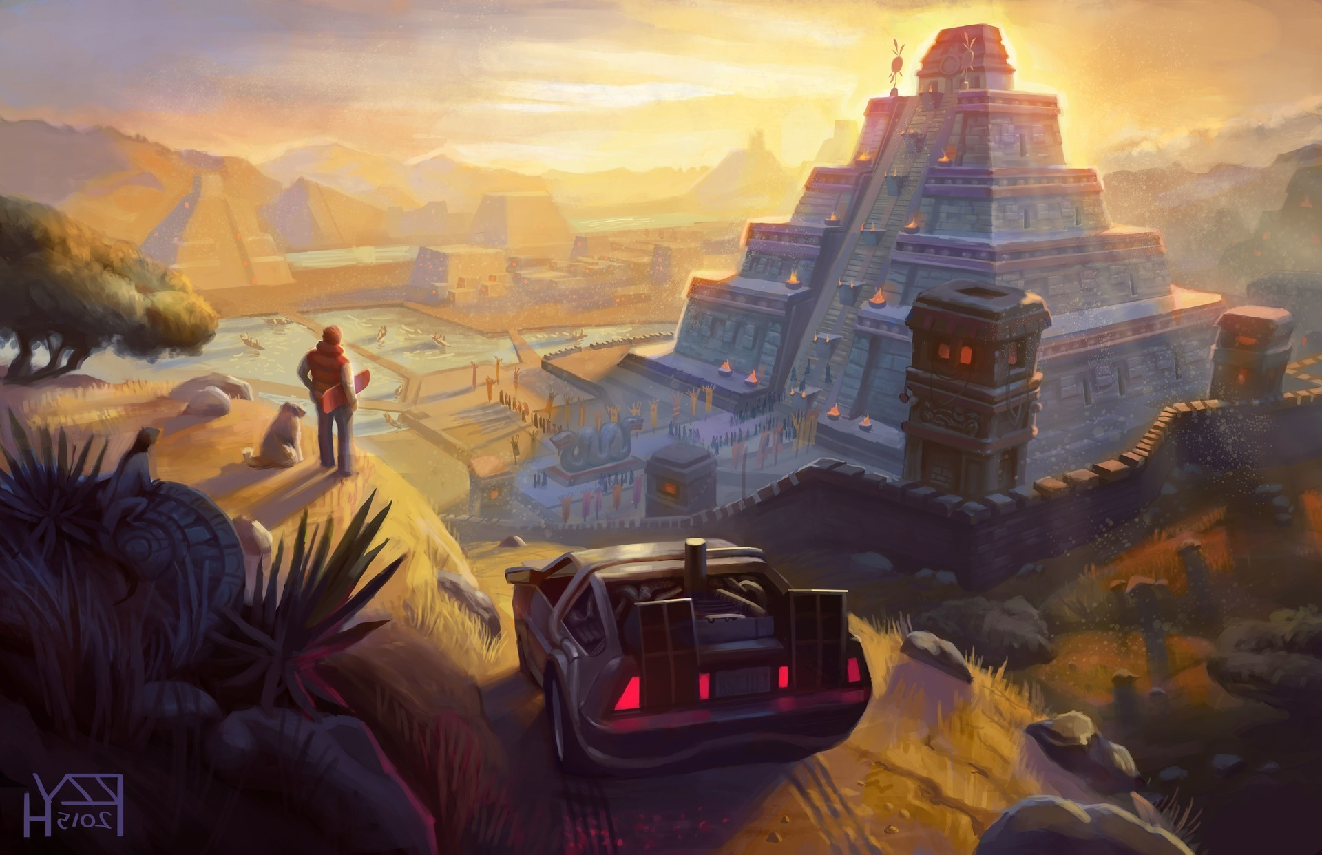 1920x1242 artwork, Fantasy Art, Back To The Future, DeLorean, Pyramid, Movies, Mayan,  Aztec Wallpapers HD / Desktop and Mobile Backgrounds