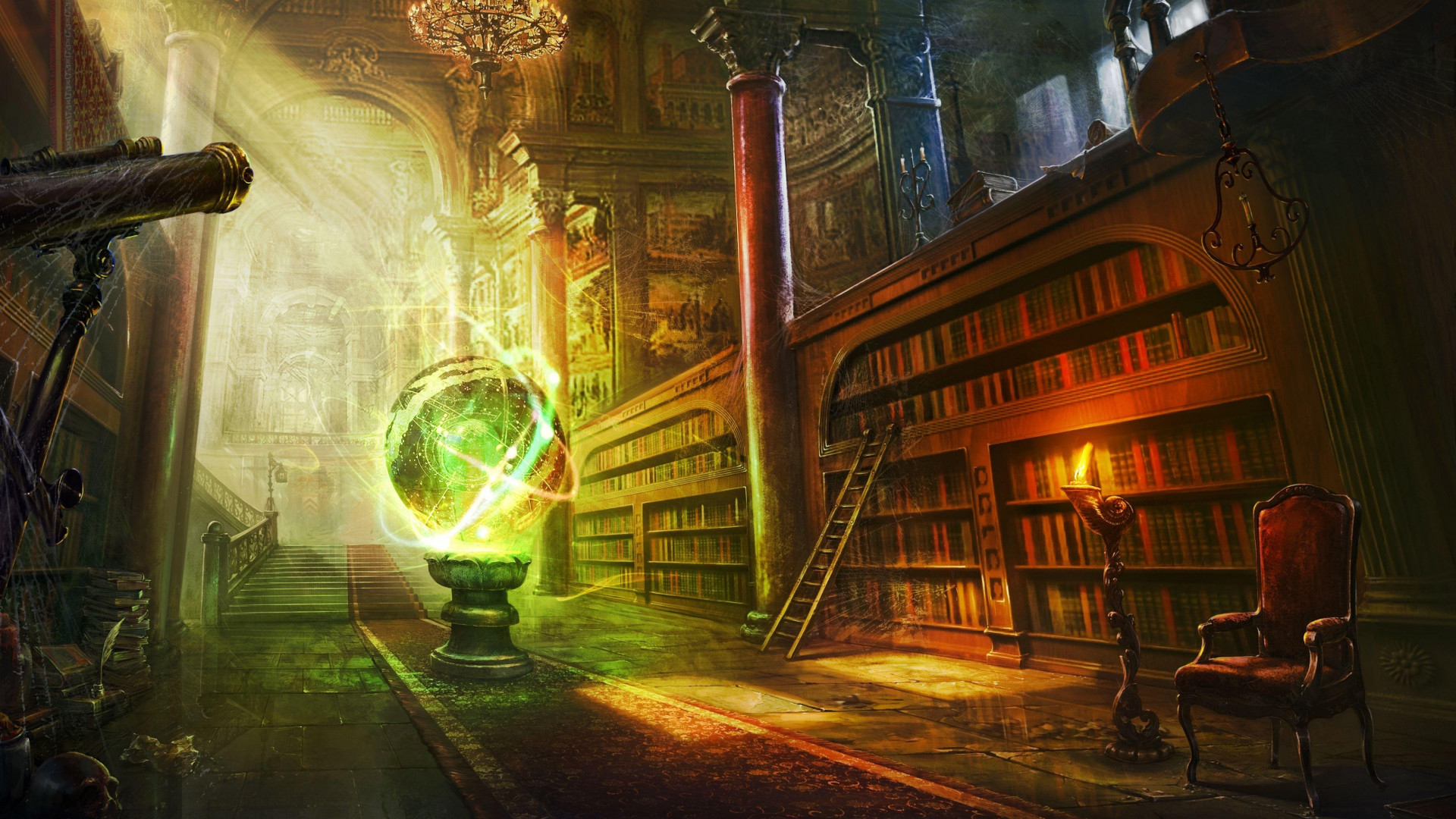 1920x1080 Preview wallpaper magic, ball, library, columns, castle
