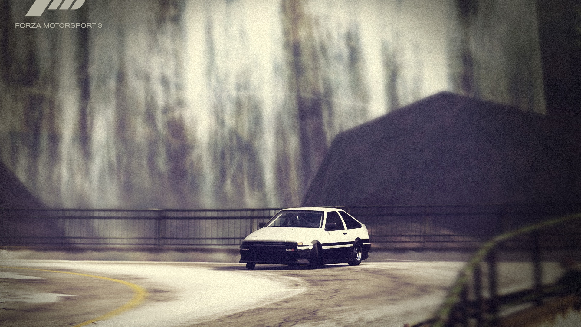1920x1080 Preview wallpaper forza motorsport, car, road, drift, fence
