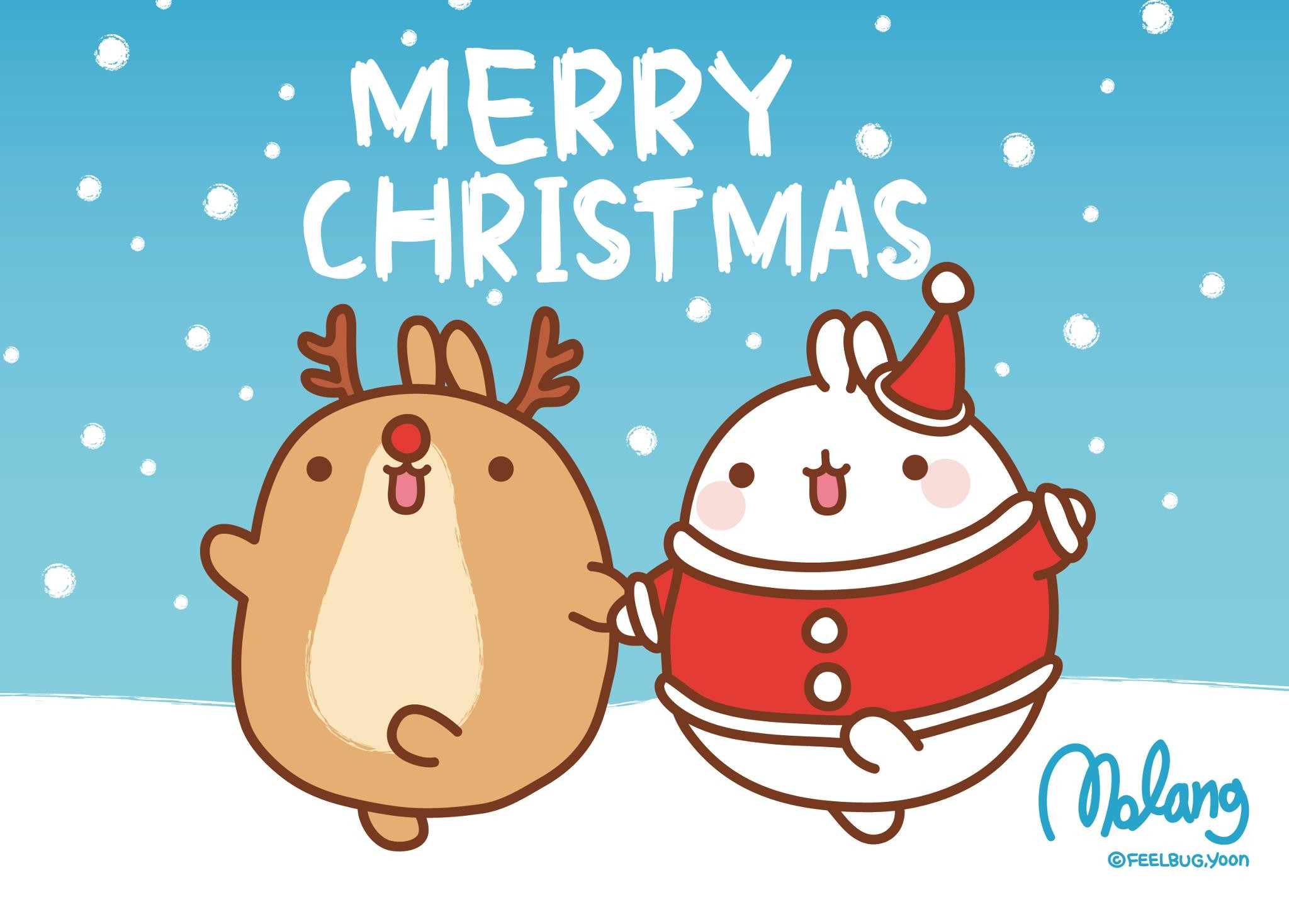 2048x1468 San X Molang Christmas Desktop Wallpapers