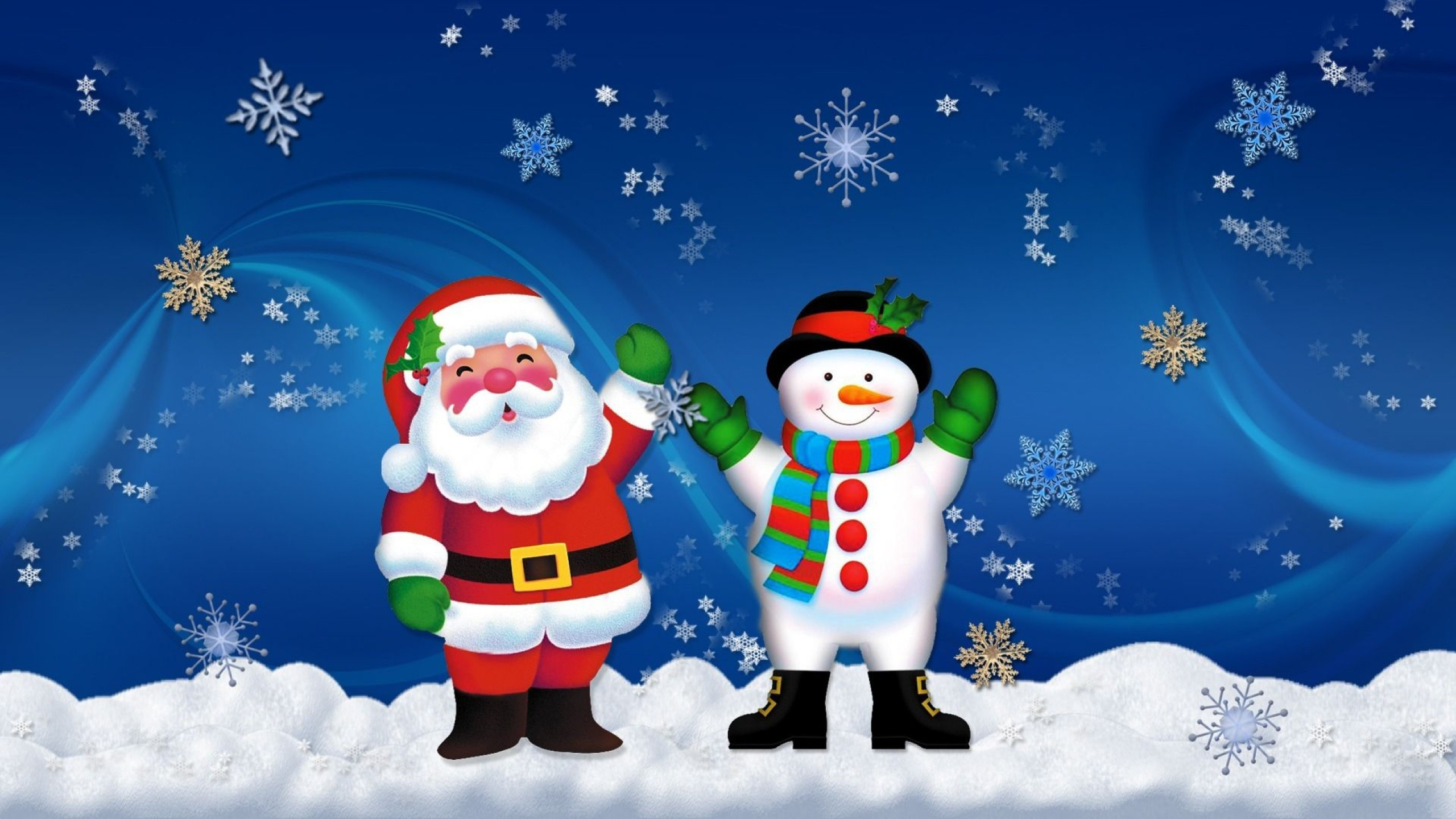 2560x1440 Merry Christmas Santa Claus And Snowman Old Friends Hd Wallpapers   : Wallpapers13.com