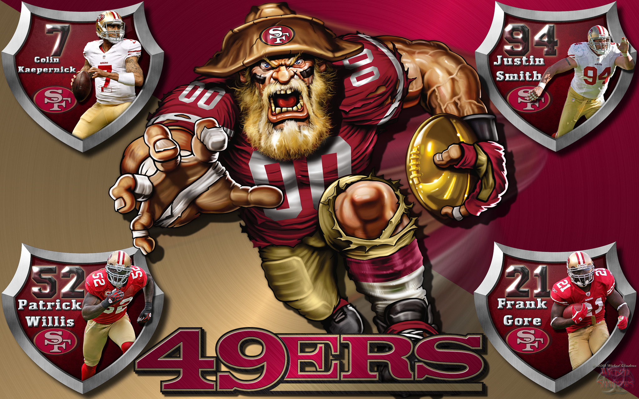 2048x1280 Wallpapers By Wicked Shadows: 49ers Crazy Logo Shield Players .