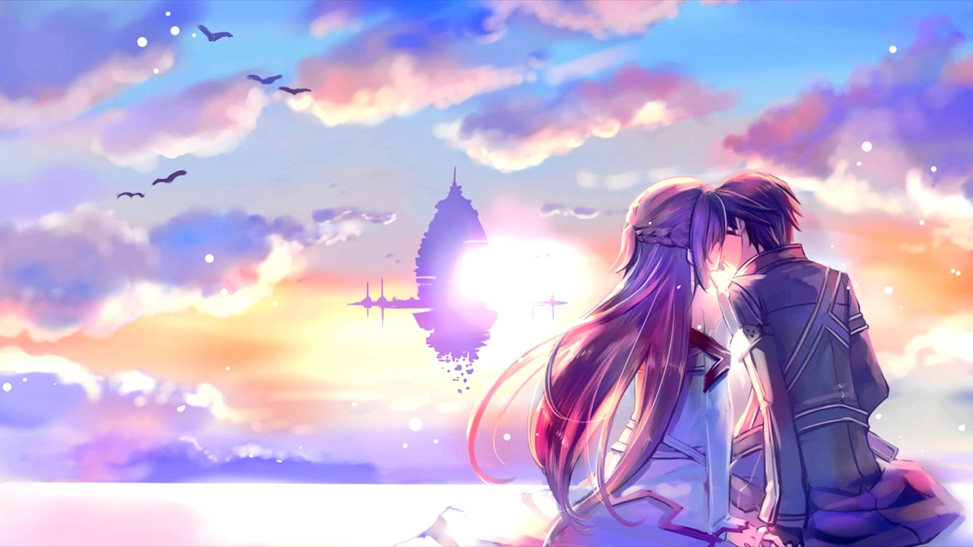 1920x1080 Romantic Asuna And Kirito Sword Art Online Wallpaper 2815