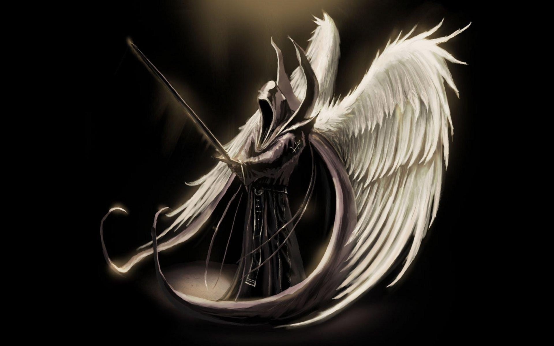 1920x1200 Fantasy Angel Warrior Dark Angel Wings Man Hood Sword Wallpaper